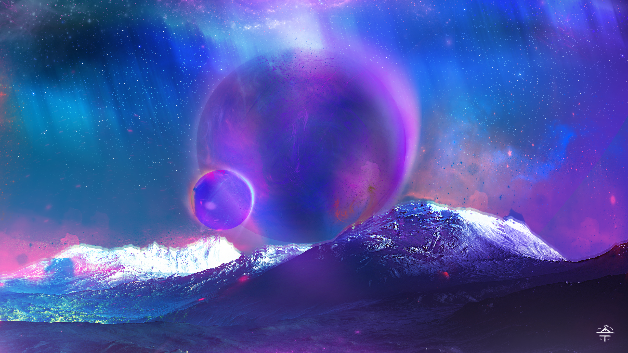 General 2560x1440 digital art space clouds futuristic space art mountains purple background blue background galaxy purple