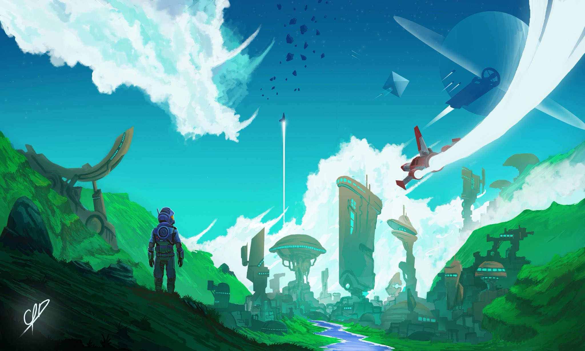 General 2048x1228 No Man's Sky planet space spaceship spacesuit clouds astronaut No Man's Sky NEXT sky fan art artwork science fiction video games rocket futuristic planetary rings