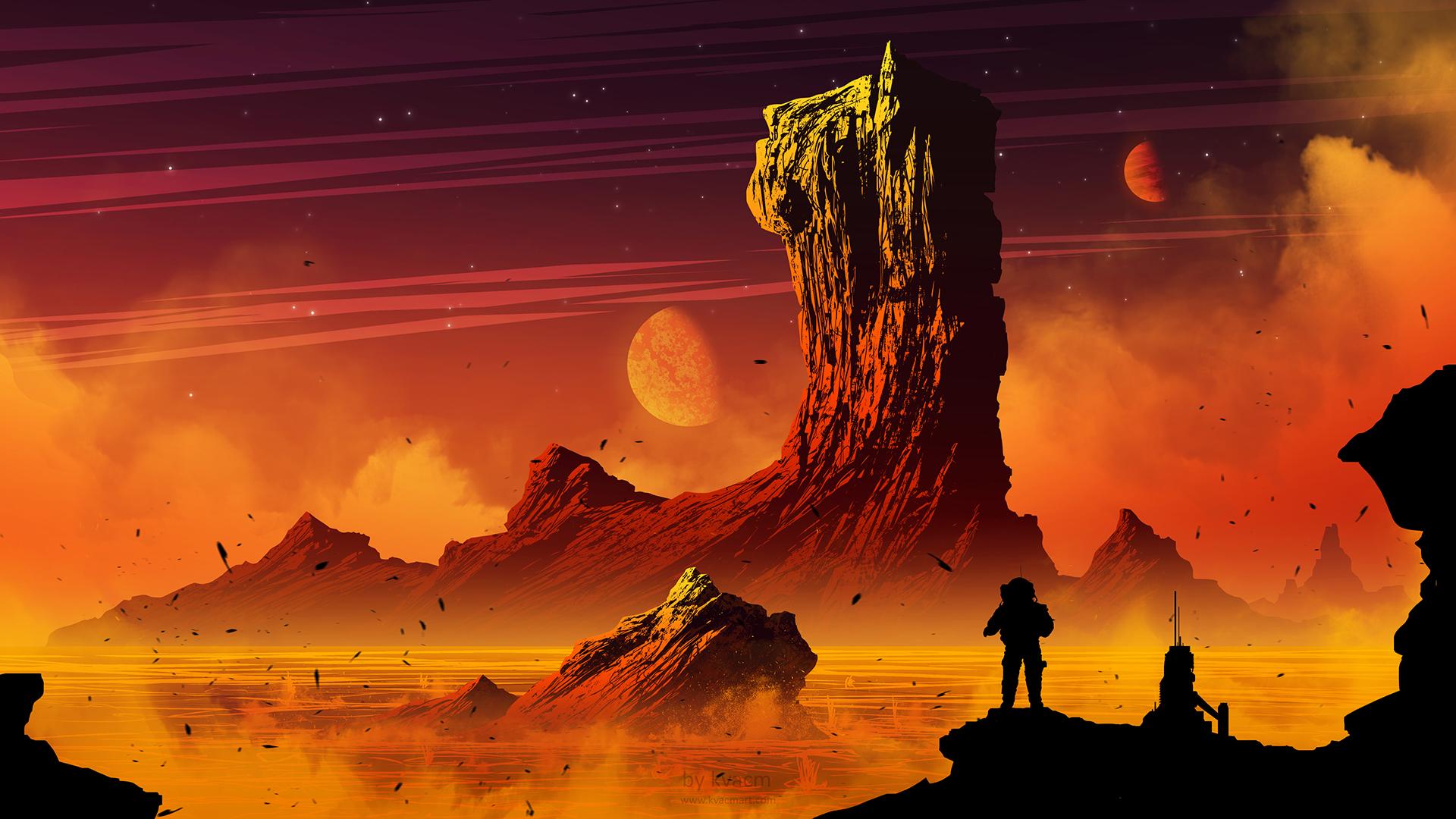 General 1920x1080 digital art landscape mountains space planet astronaut fantasy art Kvacm science fiction orange