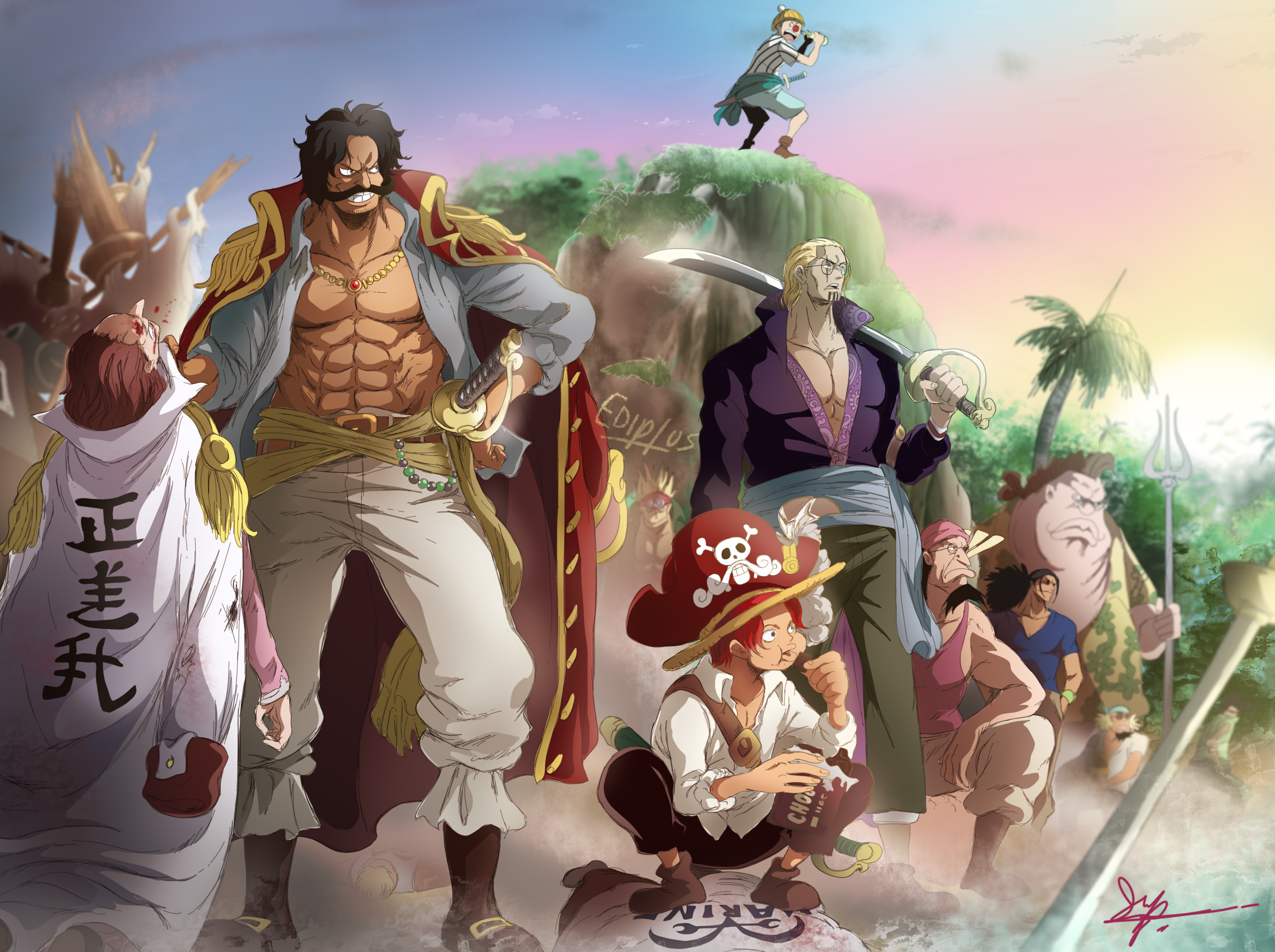 Anime 3320x2480 One Piece Roger Shanks anime Rayleigh buggy