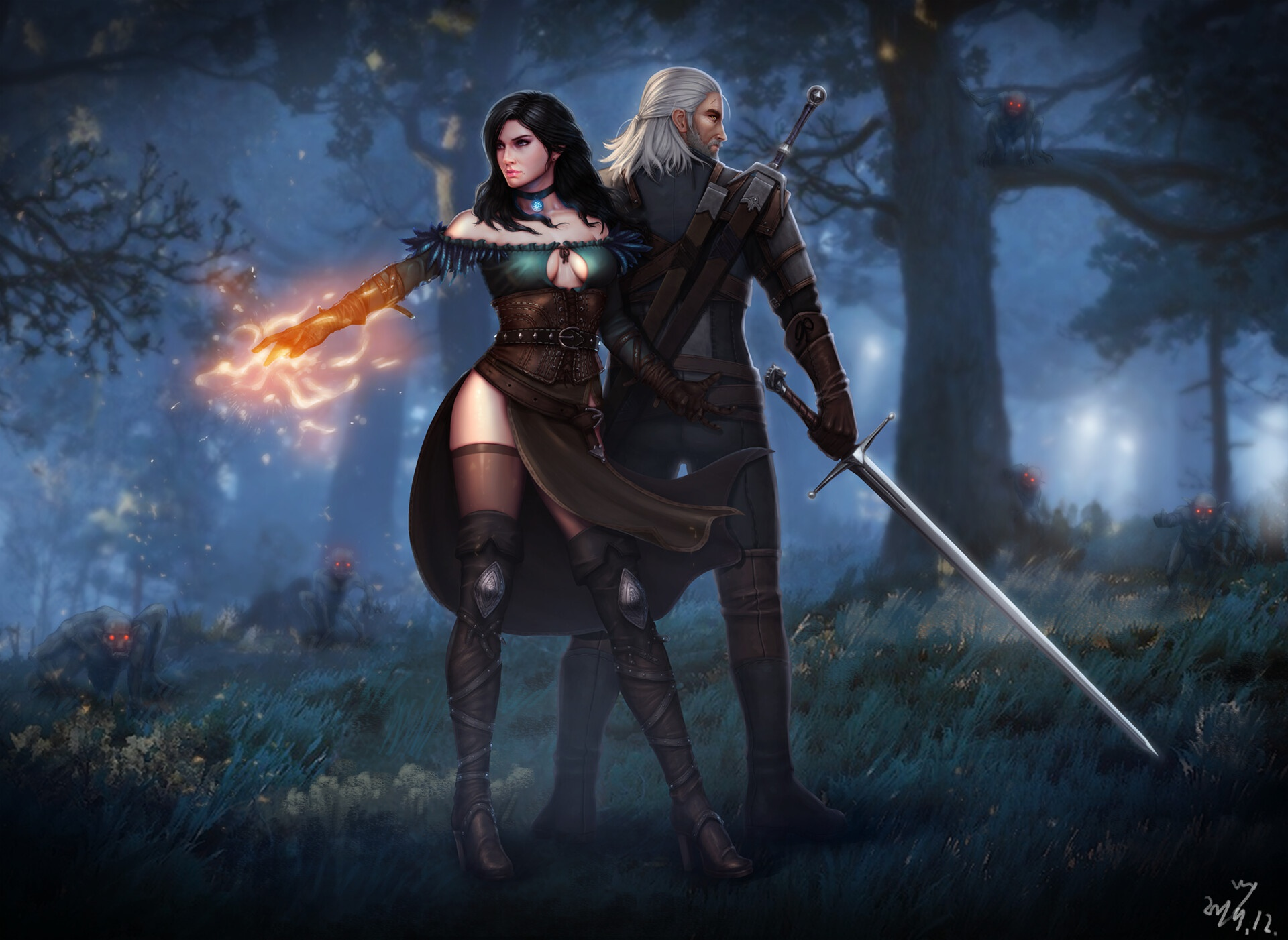 General 1920x1402 Wang Yong RPG Geralt of Rivia The Witcher 3: Wild Hunt video game art fantasy art Yennefer of Vengerberg