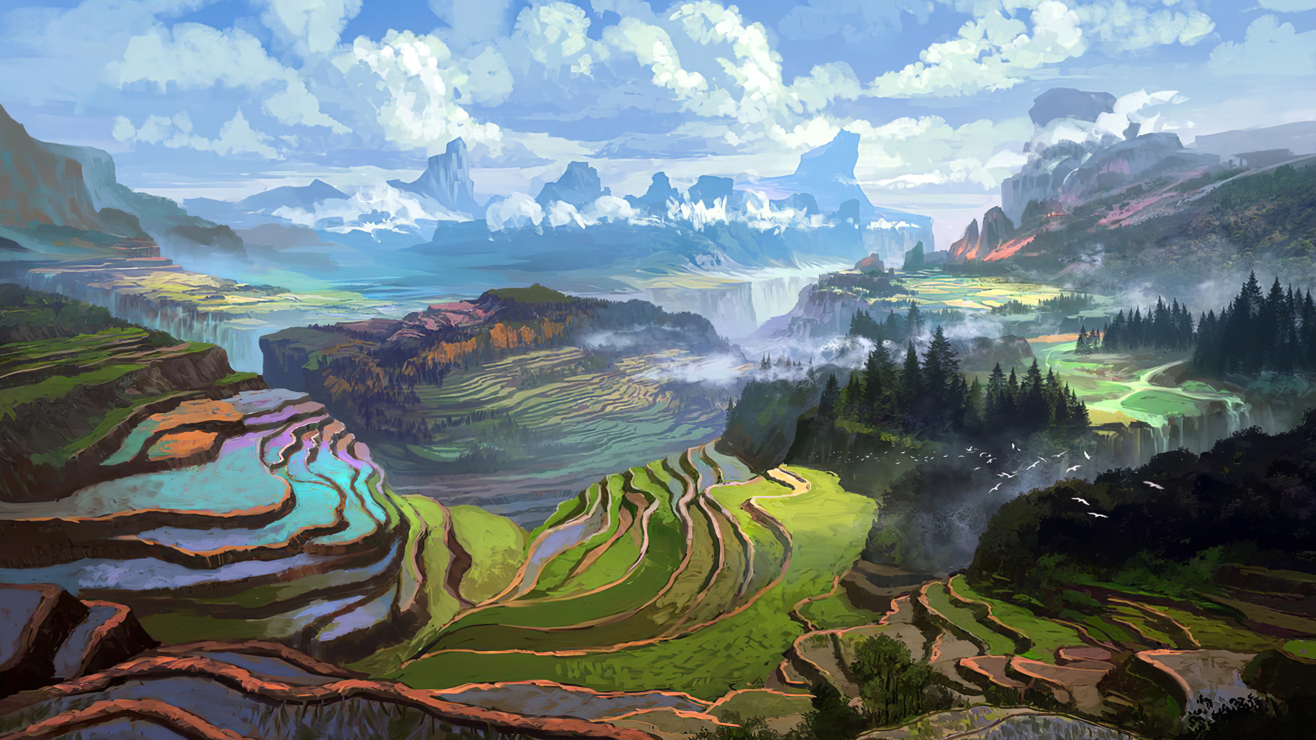 General 2560x1440 landscape nature digital mountains clouds daylight concept art Rice Terrace illustration