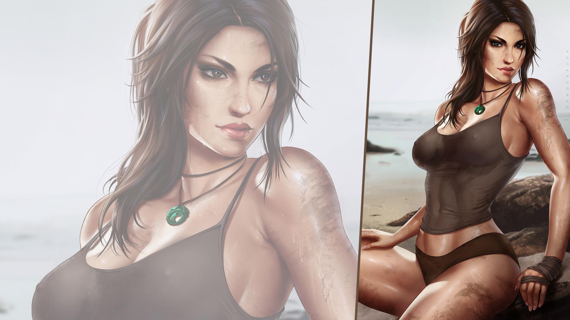 General 1920x1080 dandon fuga Lara Croft Tomb Raider looking at viewer brunette