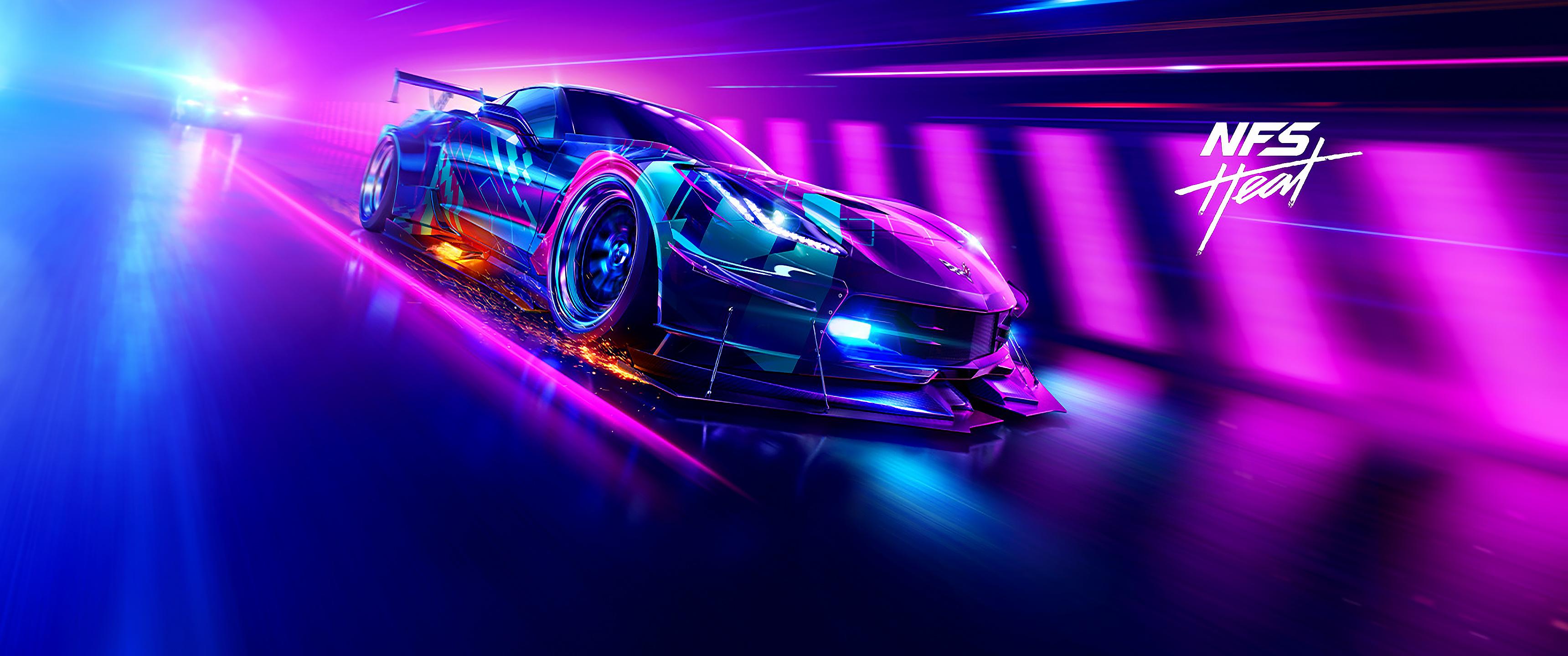 General 3440x1440 video games video game art ultrawide ultra-wide Need for Speed: Heat car Corvette Retrowave