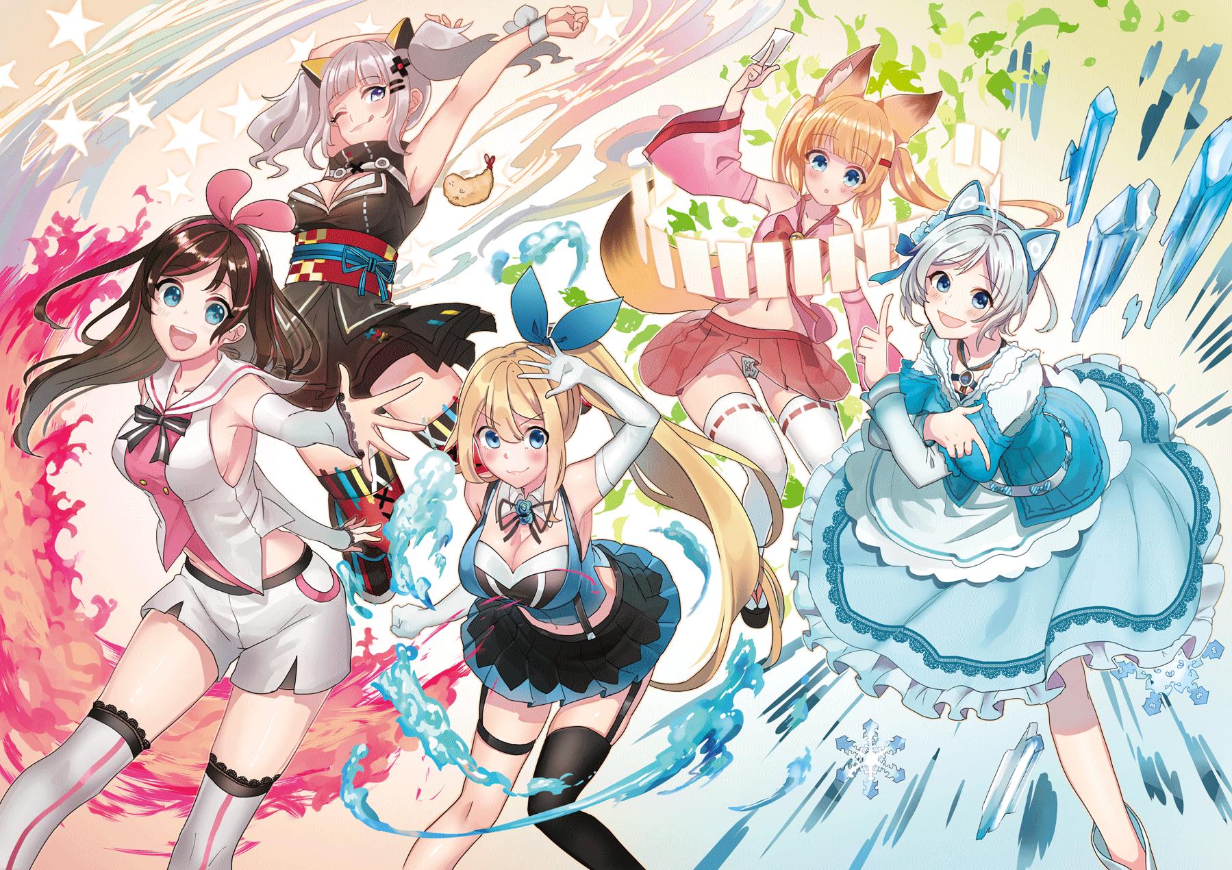 Anime 1799x1270 anime girls anime Virtual Youtuber Kizuna Ai Kaguya Luna blonde blue eyes miniskirt dress colorful dark hair open mouth animal ears