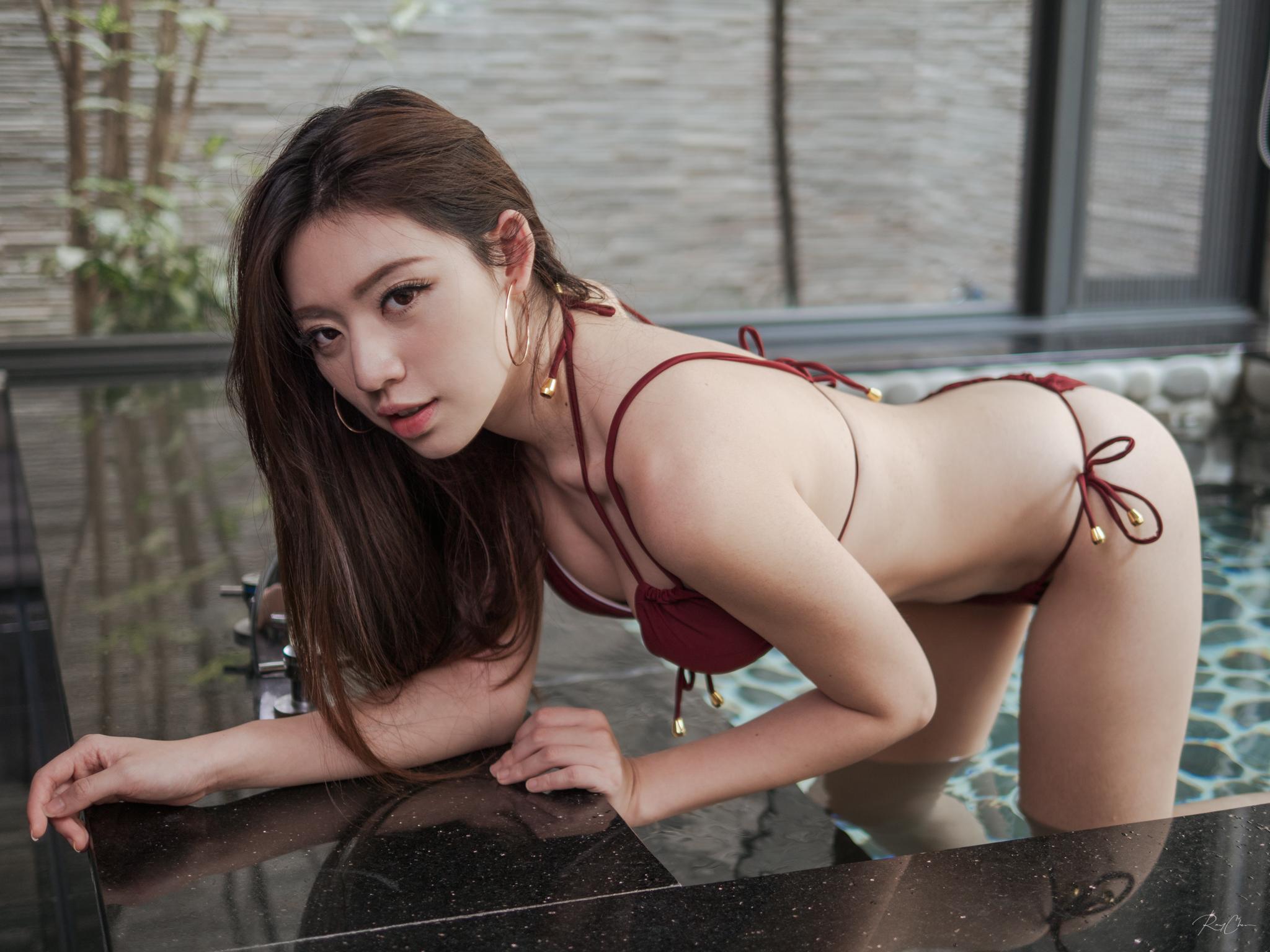 People 2048x1536 Asian women model brunette looking at viewer indoors hoop earrings bikini swimwear belly bent over hot tub depth of field women indoors Ray Chen Kiki Hsieh