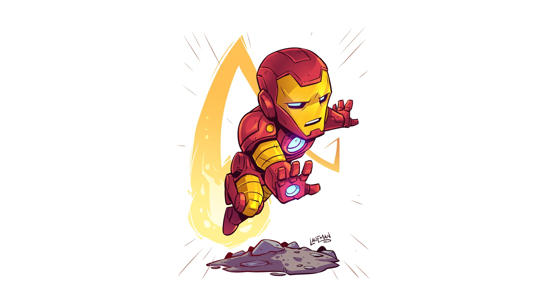 General 1920x1080 Iron Man artwork white background simple background Marvel Comics Derek Laufman