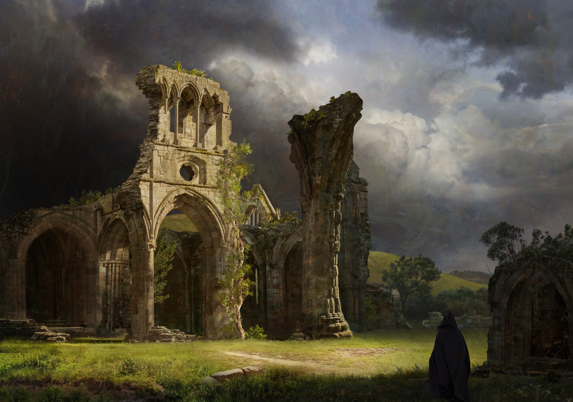General 1920x1349 nature ruins castle sky clouds Gothic architecture artwork ruin Andrey Bakulin trees digital art arch abandoned Abbey cathedral
