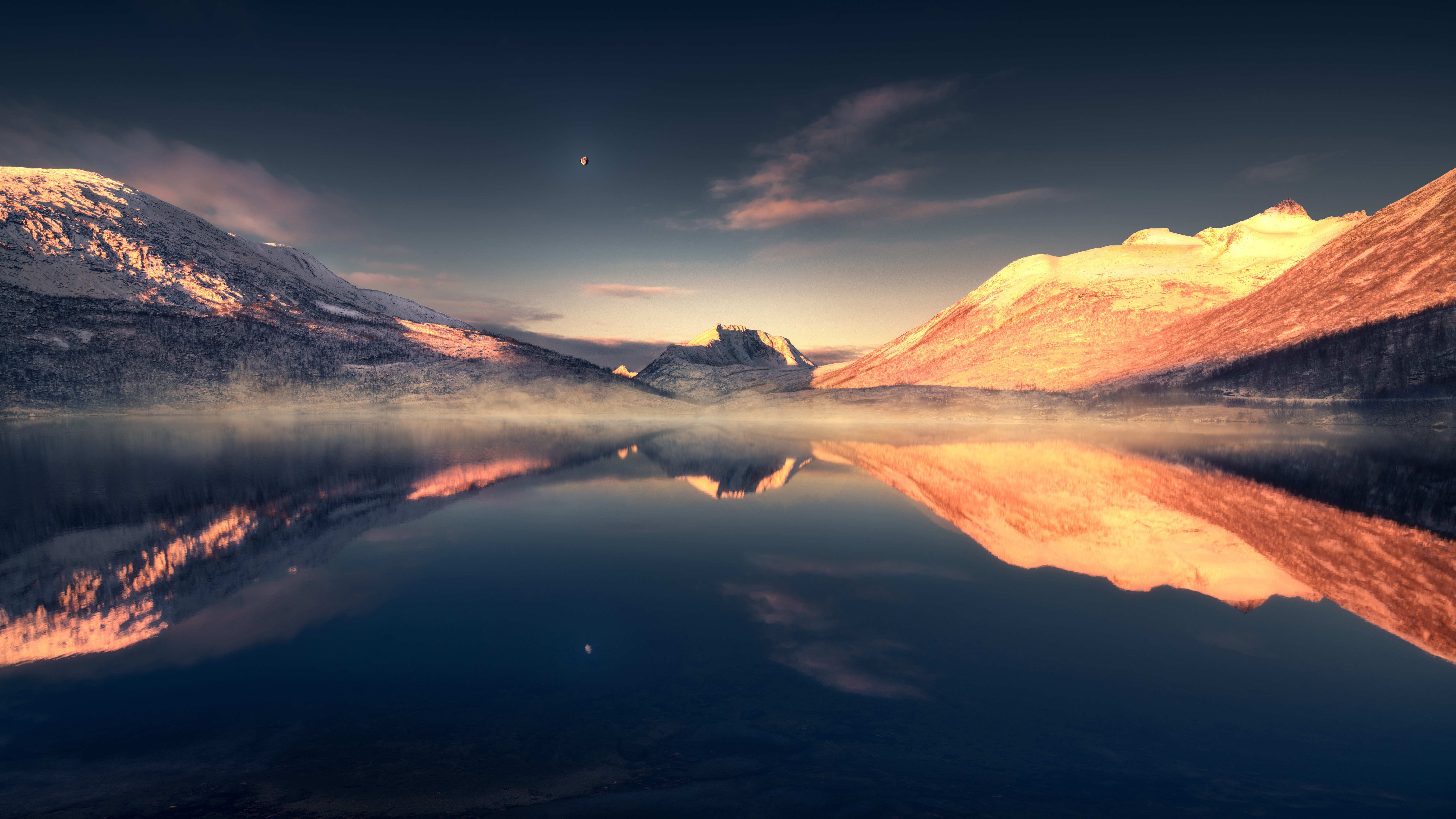 General 7680x4320 landscape lake mountains reflection nature sky water