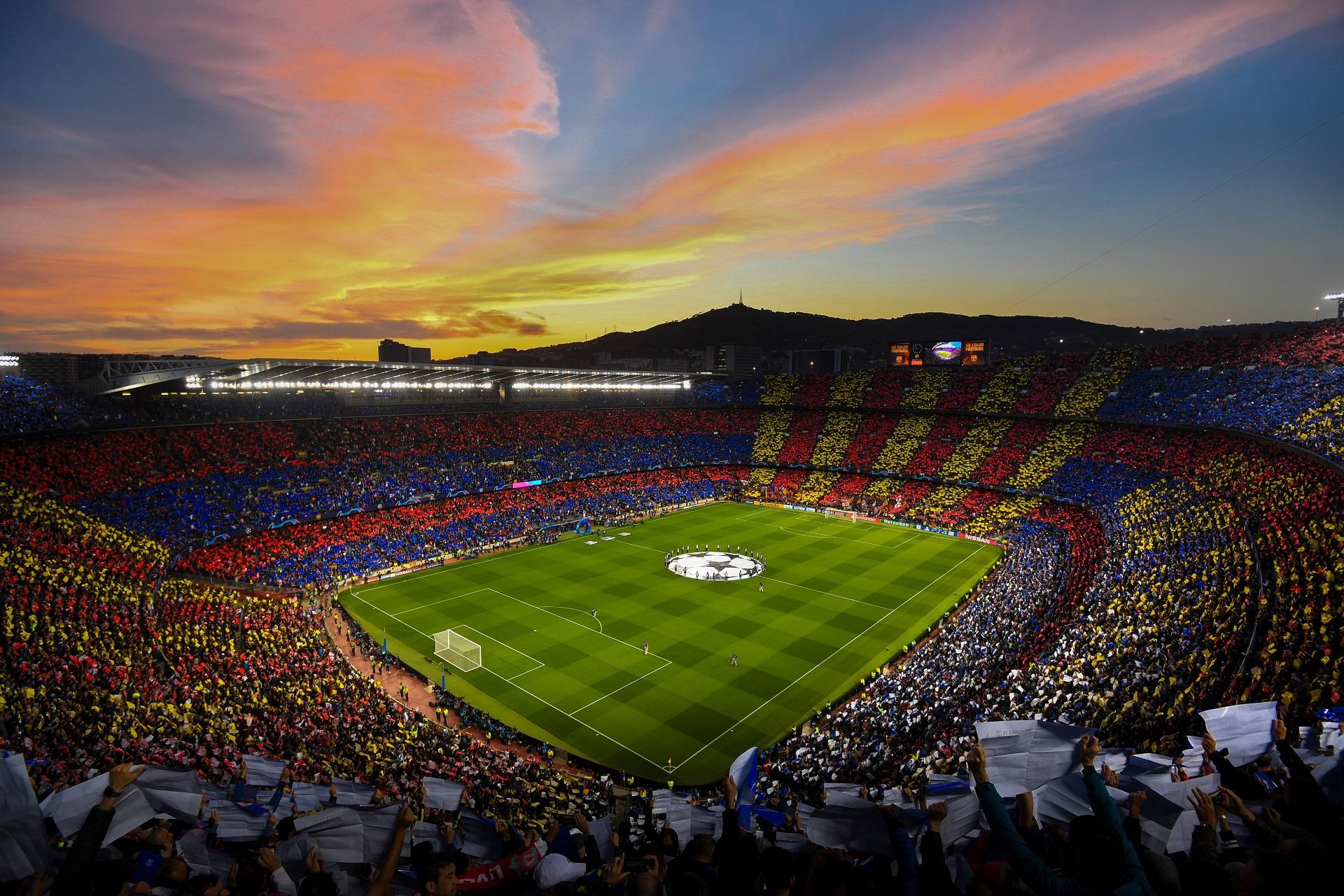 General 1920x1280 FC Barcelona Spain stadium Camp Nou soccer soccer field soccer clubs Champions League sunset