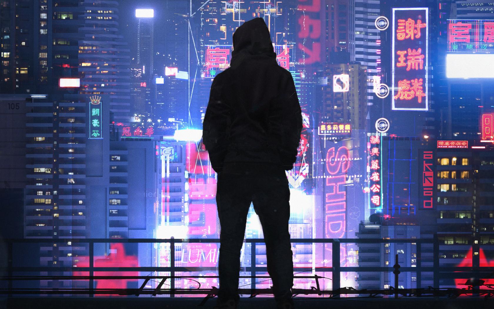 General 1680x1050 cyberpunk Dark Cyberpunk men city synthwave futuristic futuristic city neon black