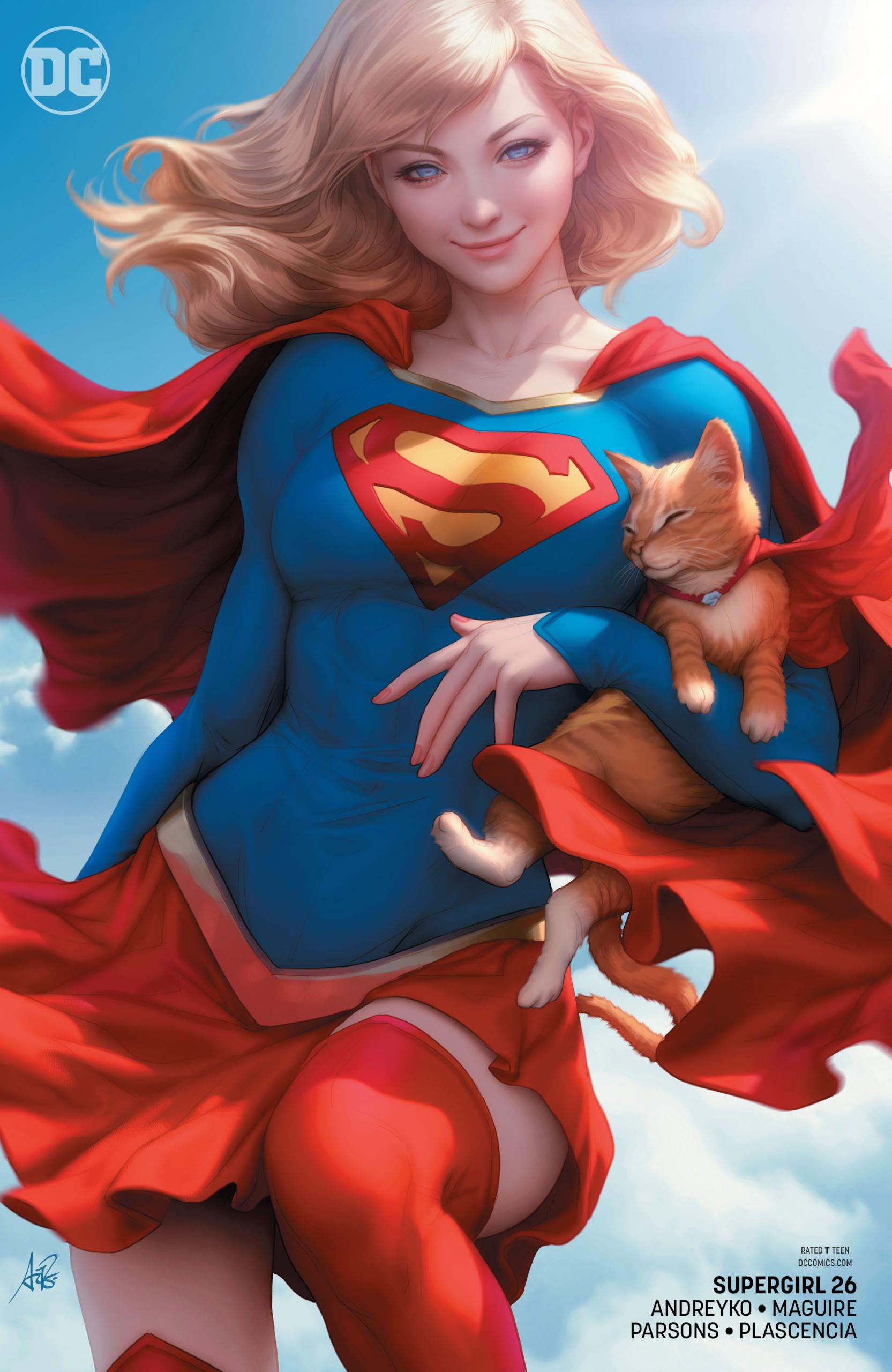 General 1665x2560 Supergirl DC Comics superheroines superhero blonde artwork cats poster portrait display Artgerm