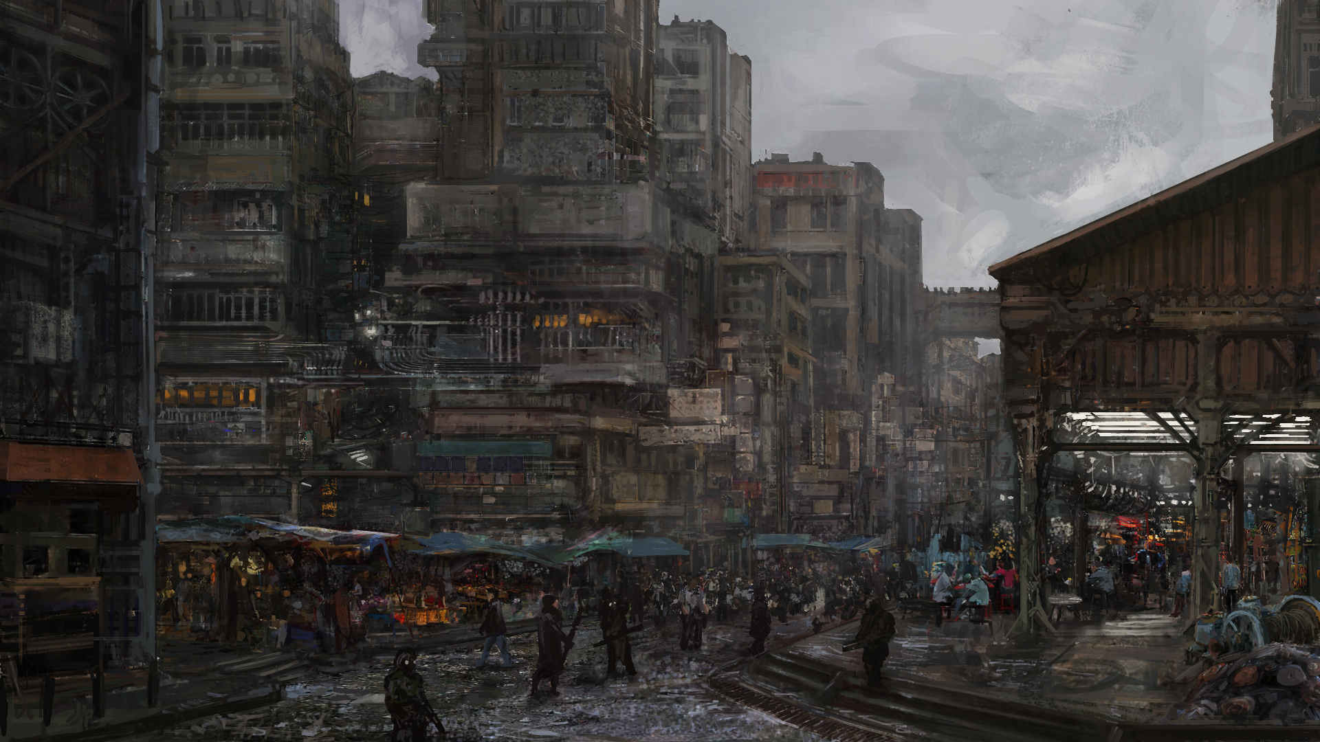 Anime 1920x1080 digital futuristic city broken rain trash pollution crow digital painting