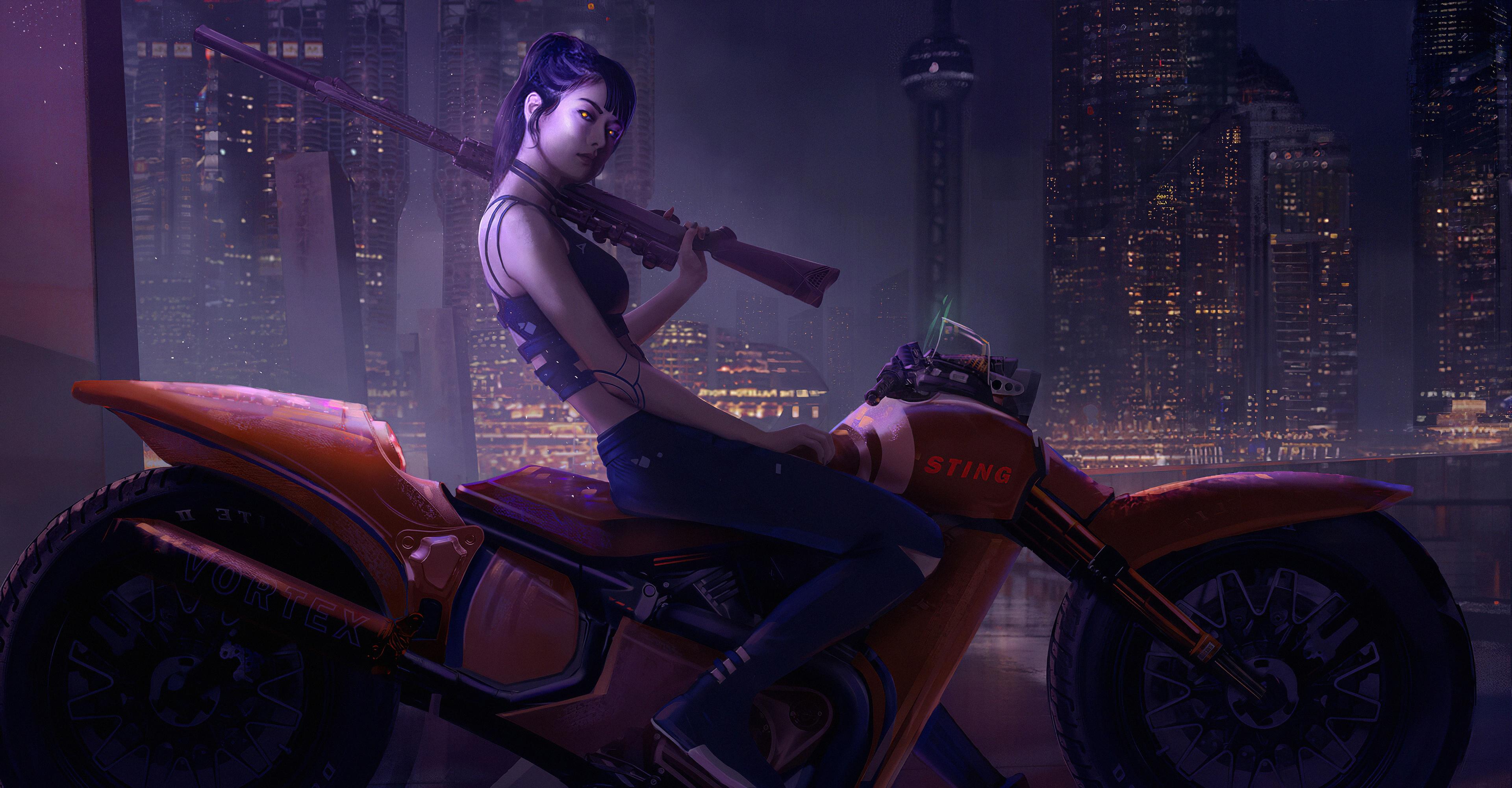 General 3840x2000 science fiction concept art artwork fantasy art fan art 3D CGI painting closeup realistic cyberpunk science fiction women weapon vehicle motorcycle glowing eyes