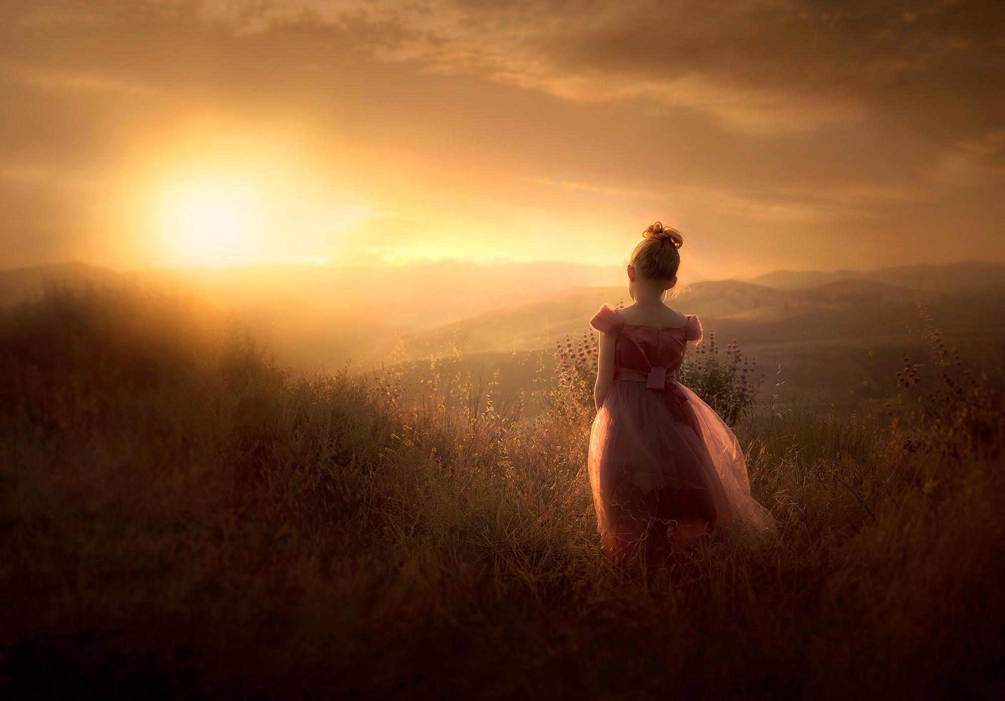 People 2000x1395 children sunset Sun field nature landscape clouds sky warm warm light flowers dress young woman blonde soft gradient  vignette Jessica Drossin outdoors