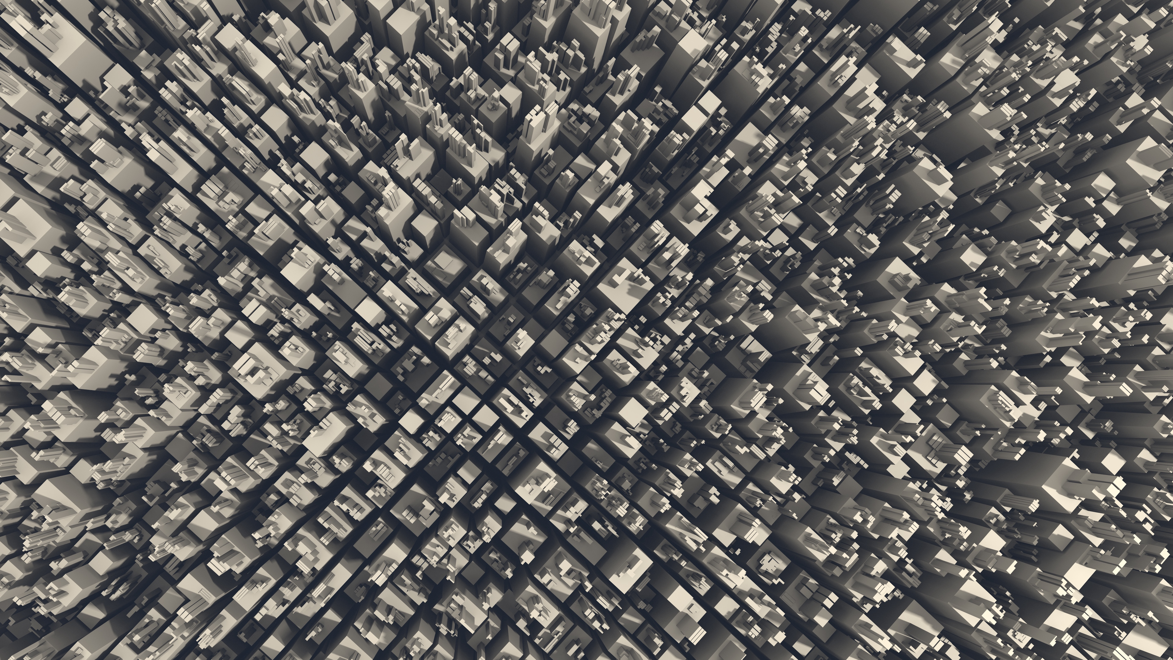 General 3840x2160 top view city 3D Abstract