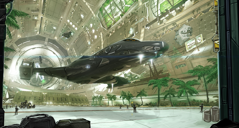 General 5697x3059 Elite: Dangerous Coriolis Station Starport spaceship science fiction cyberpunk Kev-Art
