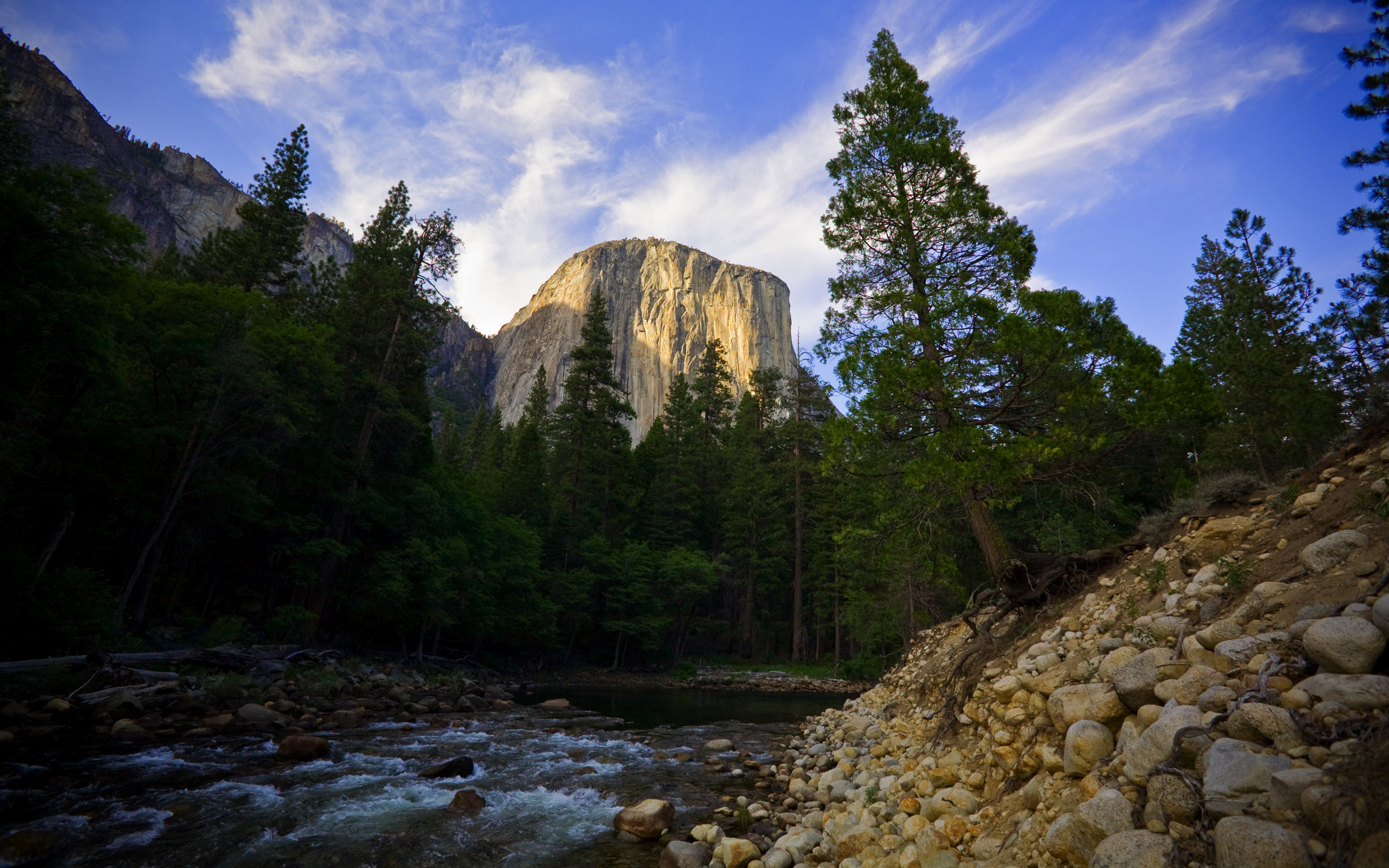 General 2560x1600 El Capitan forest Yosemite National Park river trees USA