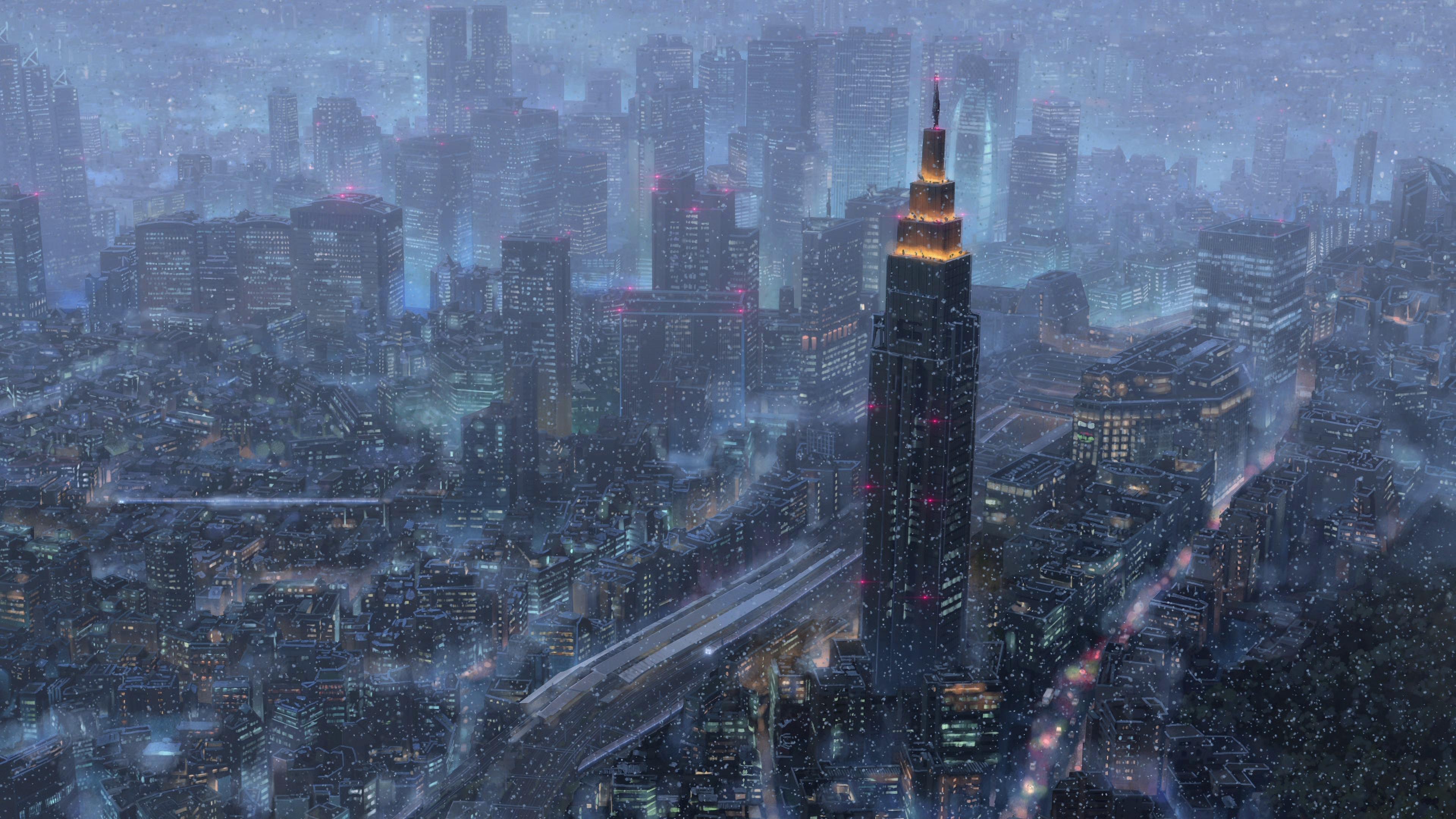 Anime 3840x2160 rain night city city lights