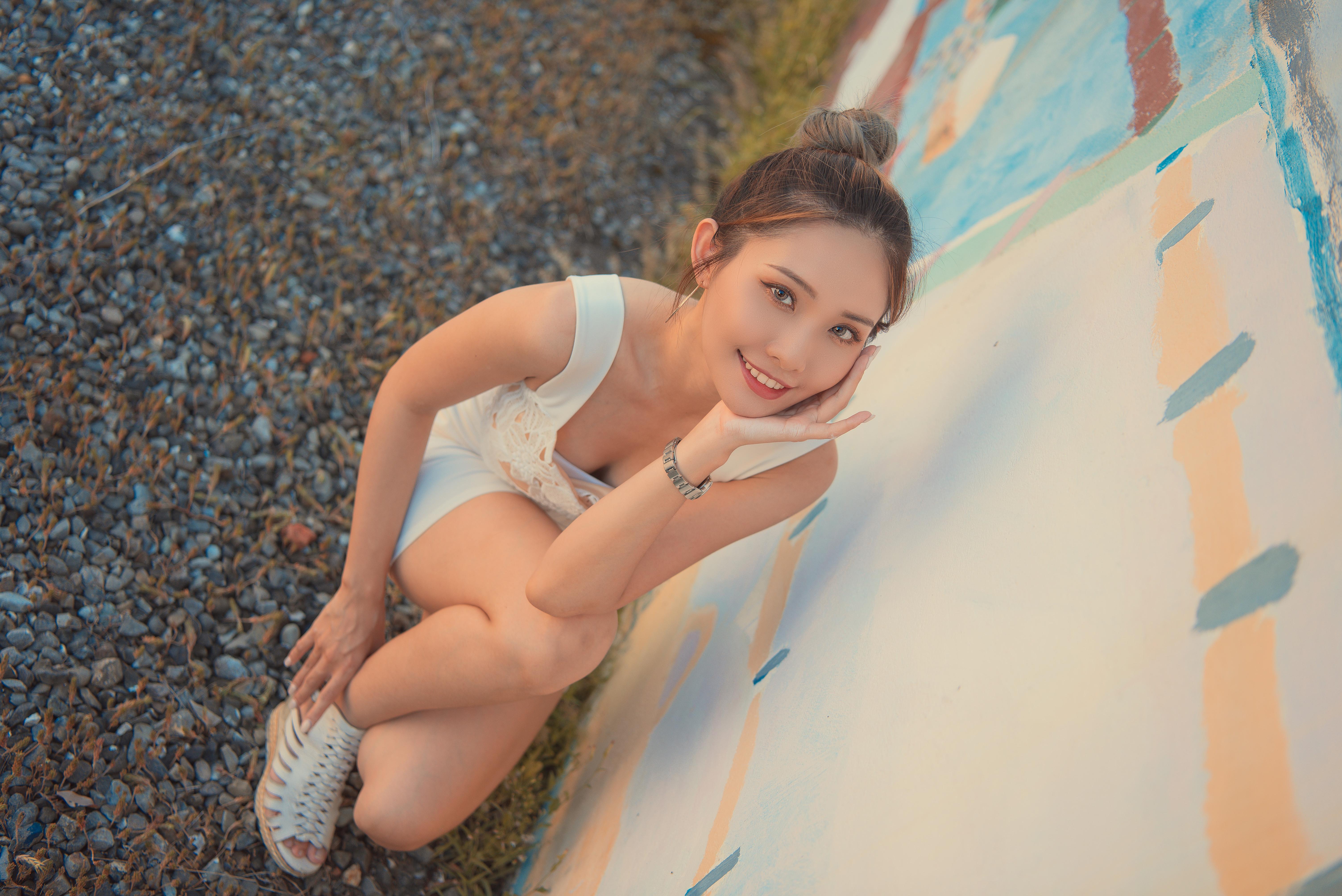 People 6016x4016 Asian women model long hair brunette kneeling white shirt shorts wristwatch sandals wall