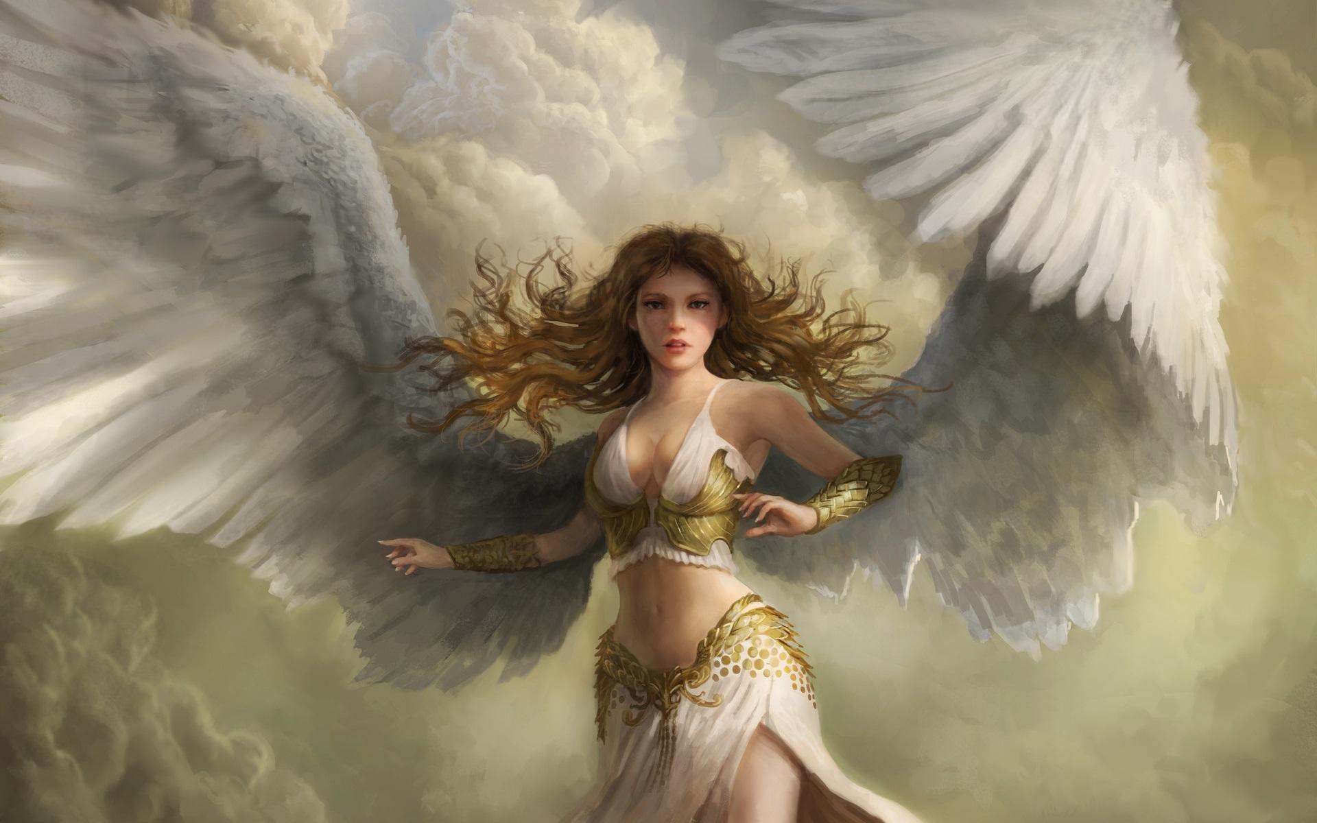 General 1920x1200 artwork fantasy art women fantasy girl angel wings redhead long hair