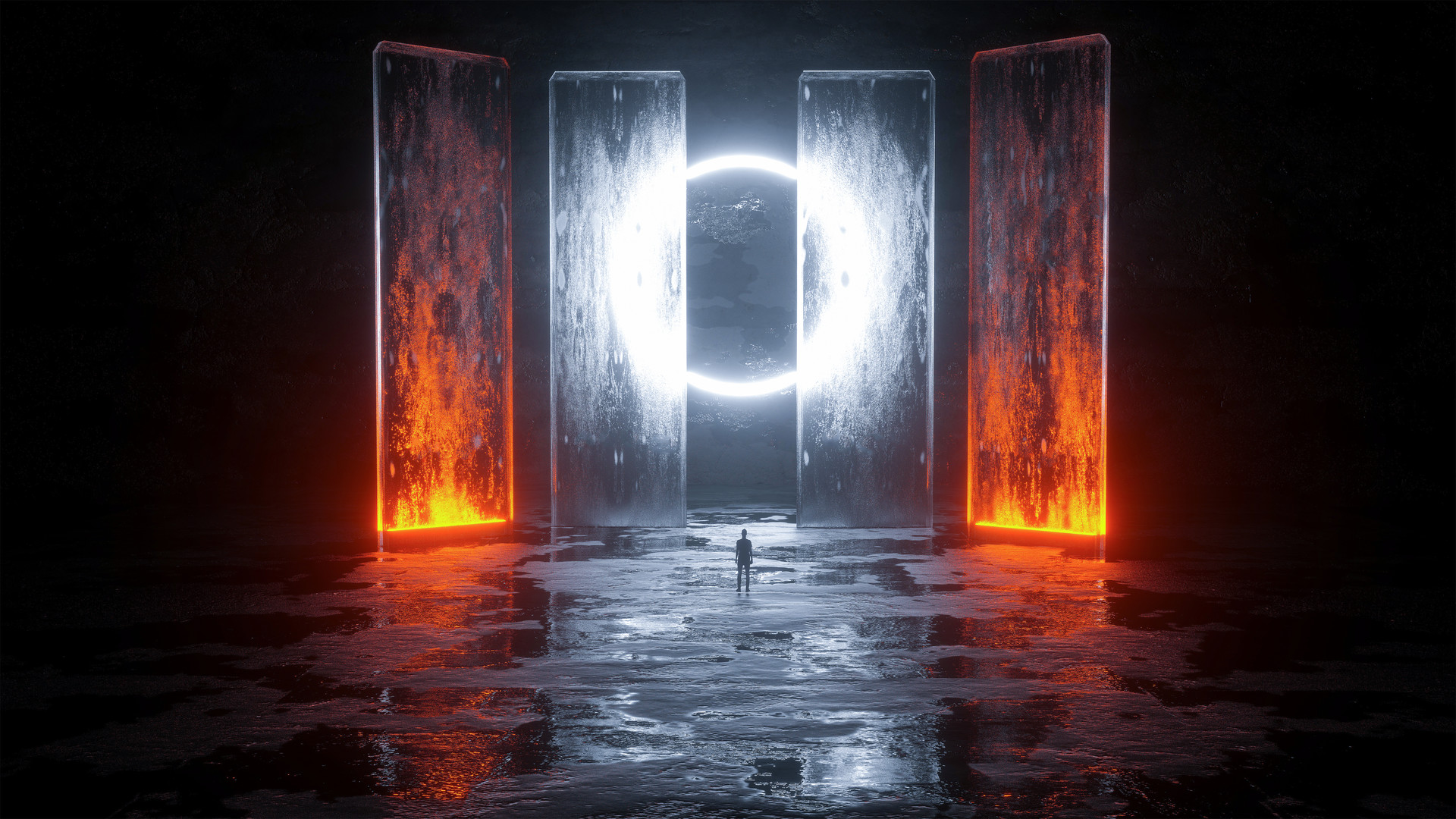 General 1920x1080 digital digital art artwork fantasy art landscape lights dark silhouette glowing circle pillar architecture burning neon lights environment surreal elements fire ice hallway concept art 3D