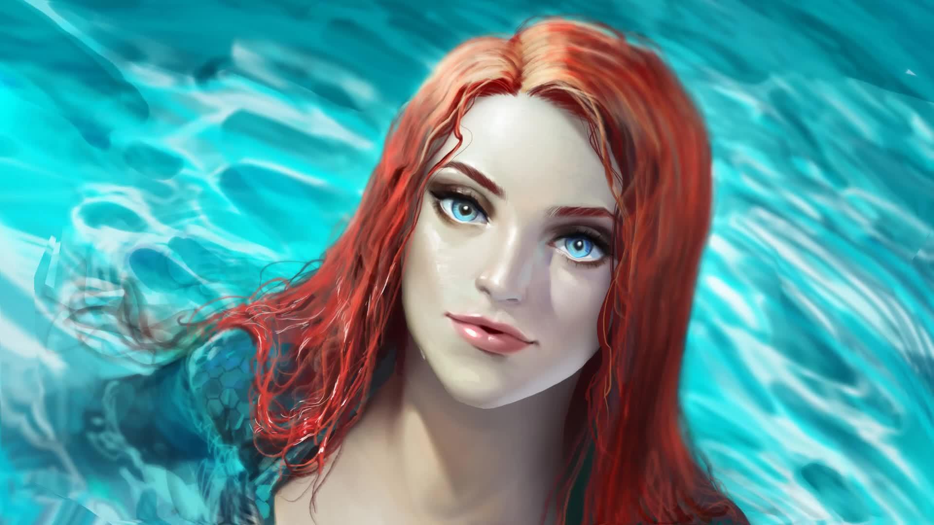 Women Redhead Blue Eyes Long Hair Wet Hair Aquaman Artwork Water Sea Mera Dc Comics Fan Art Cyan 1920x1080 Wallpaper Wallhaven Cc