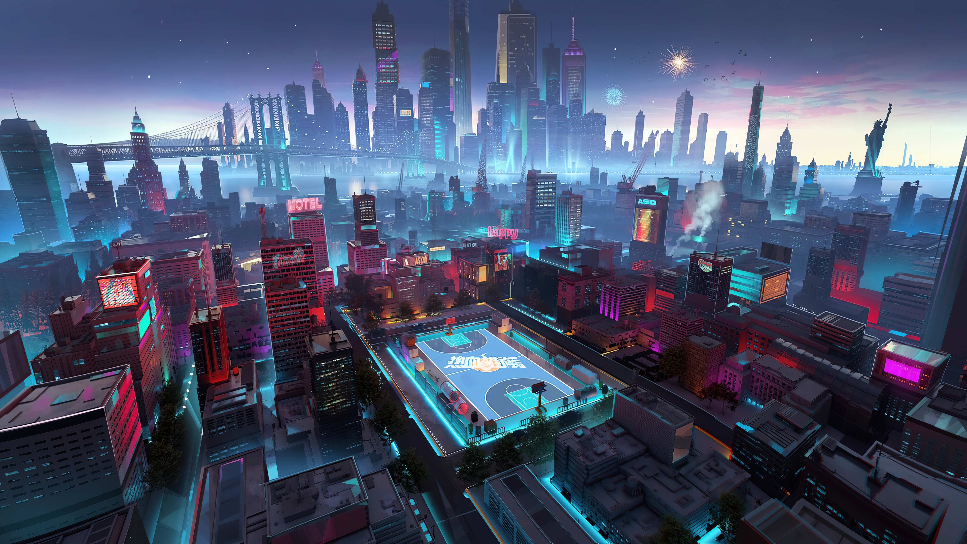 General 3840x2160 architecture building city cityscape bridge fantasy city skyscraper evening cyan basketball court rooftops fireworks Statue of Liberty mist neon cranes (machine)