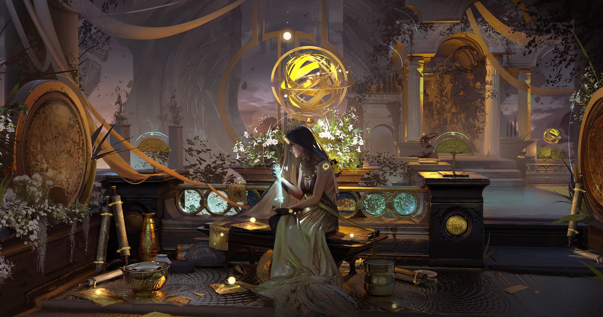 General 2000x1053 Magdalena Radziej digital art fantasy art fantasy girl sitting scrolls indoors sphere gold profile fantasy architecture dress