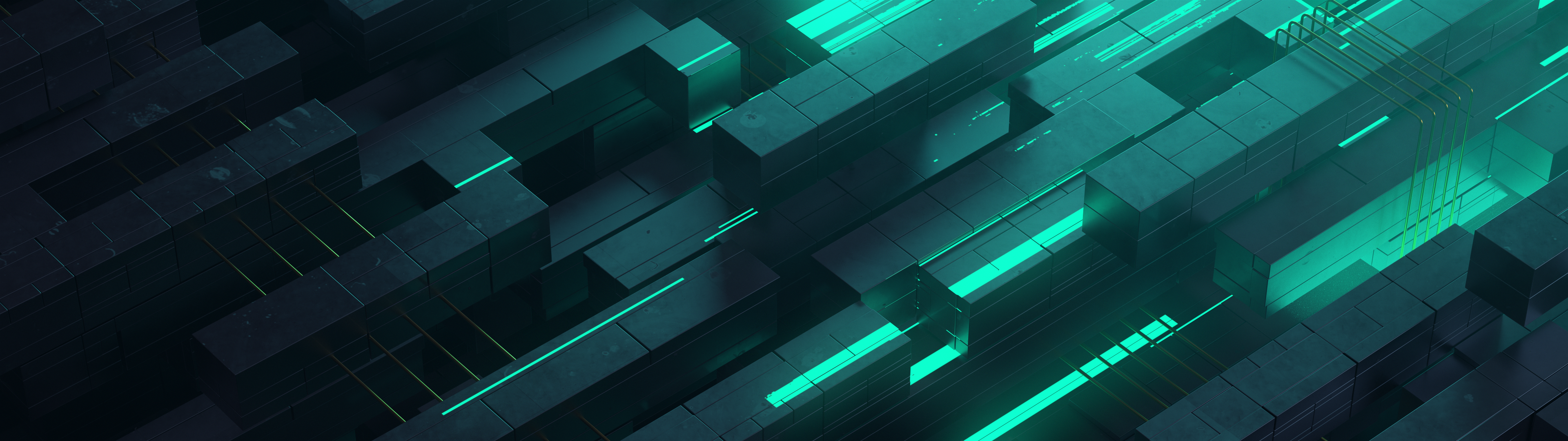 General 3840x1080 3D 3D Abstract abstract neon glow teal technology turquise