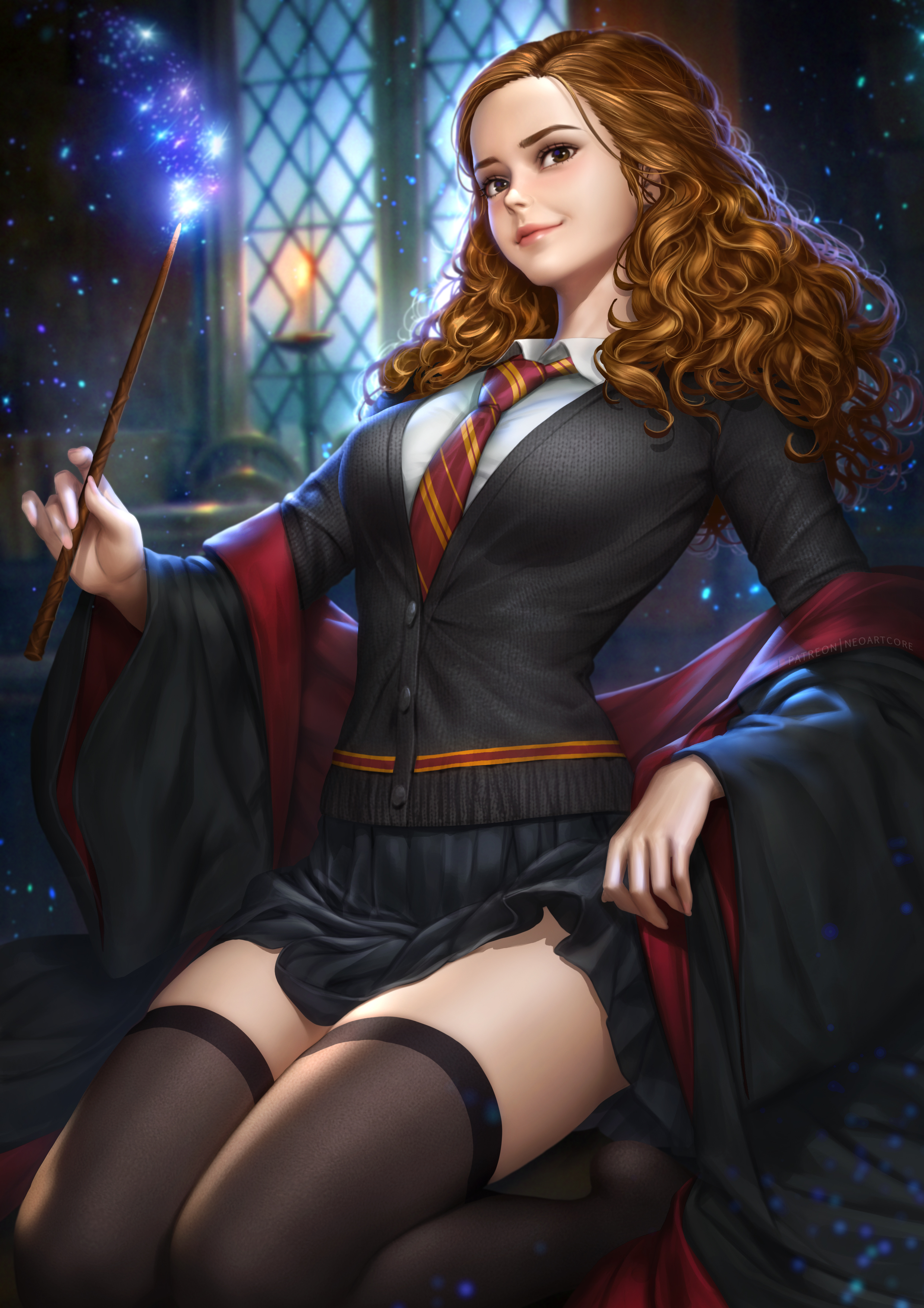 General 2480x3508 Hermione Granger Harry Potter Harry Potter and the Goblet of Fire movies fantasy girl women wizard brunette wavy hair long hair brown eyes looking at viewer smiling cape sweater tie skirt stockings black stockings thigh-highs kneeling school uniform schoolgirl Gryffindor wands magic spark glowing depth of field Hogwarts portrait display vertical artwork drawing digital art illustration fan art NeoArtCorE (artist) black clothing