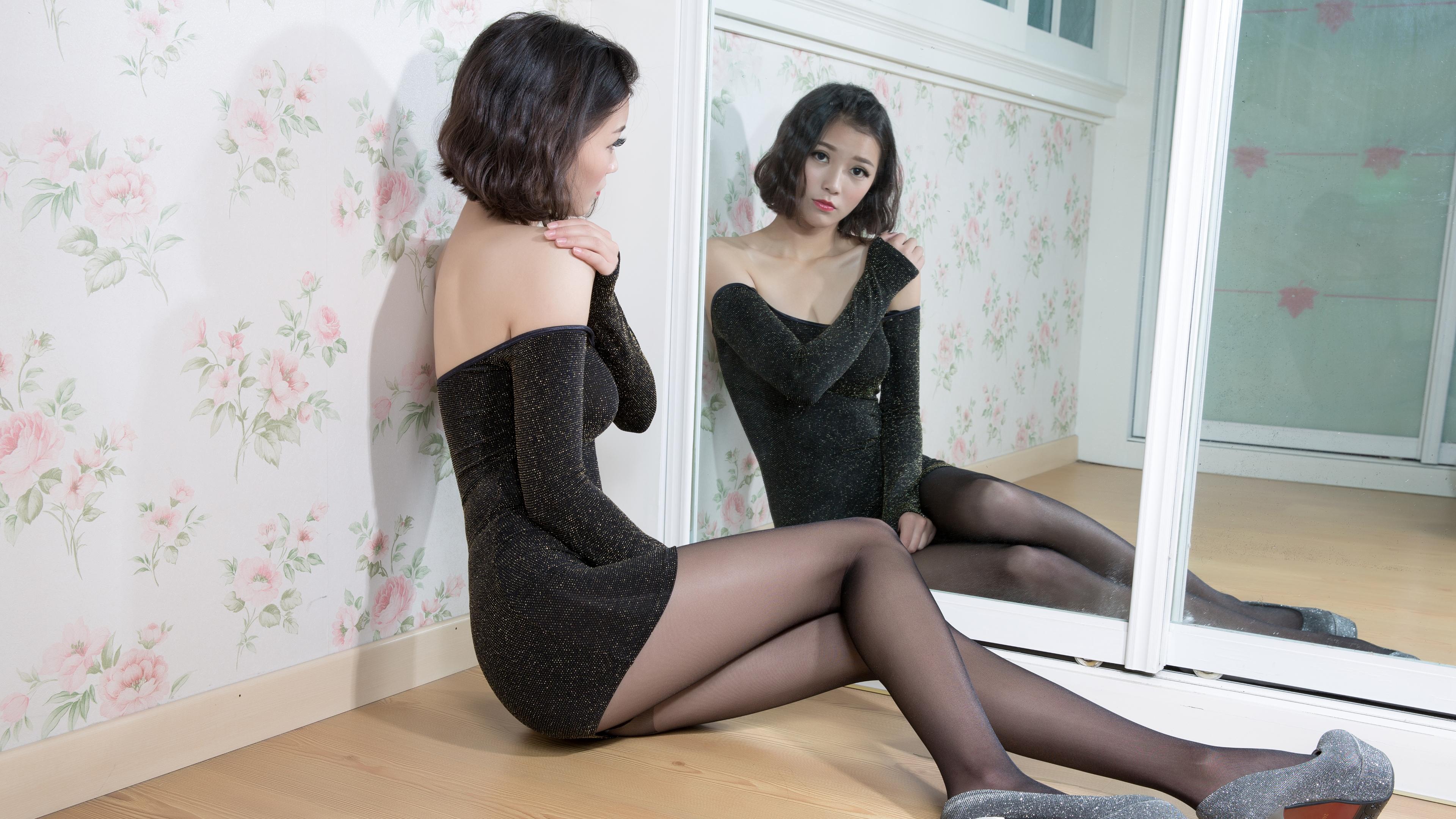 People 3840x2160 model Asian women pantyhose short hair