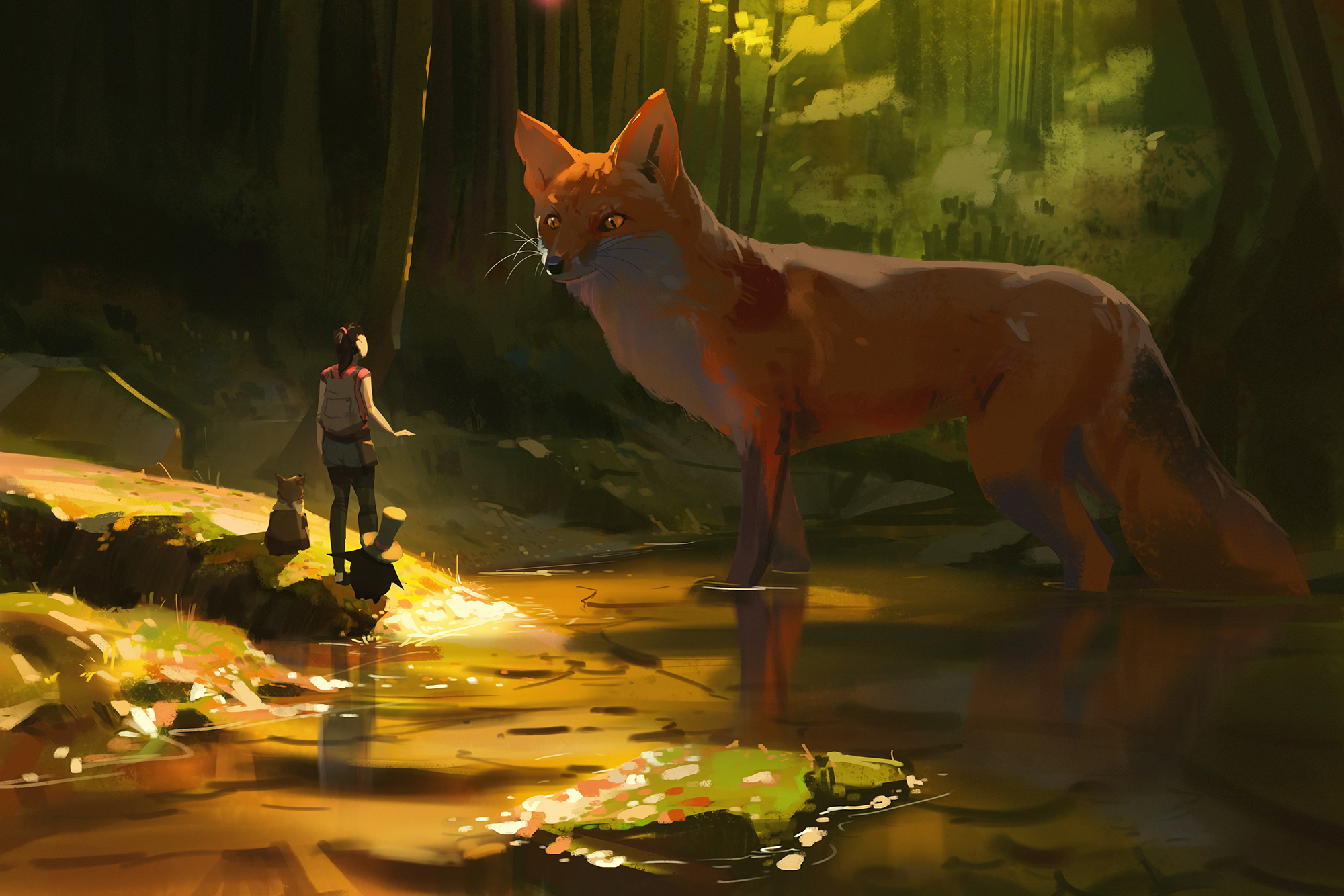 General 2000x1334 digital art artwork fantasy art Atey Ghailan animals forest swamp pond dark fox