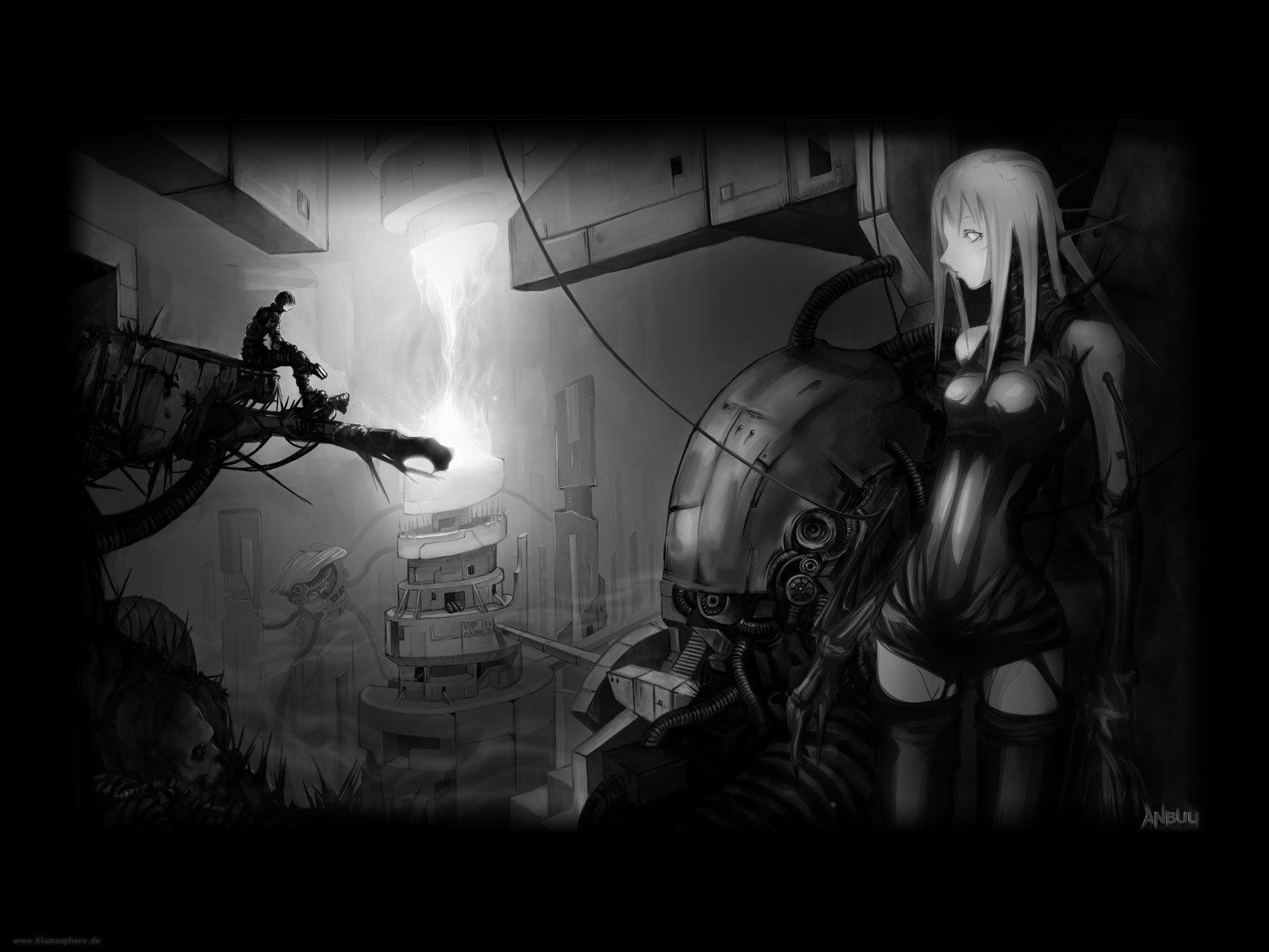 Anime 1600x1200 cyberpunk Blame! anime girls anime boys dystopian monochrome Killy Cibo