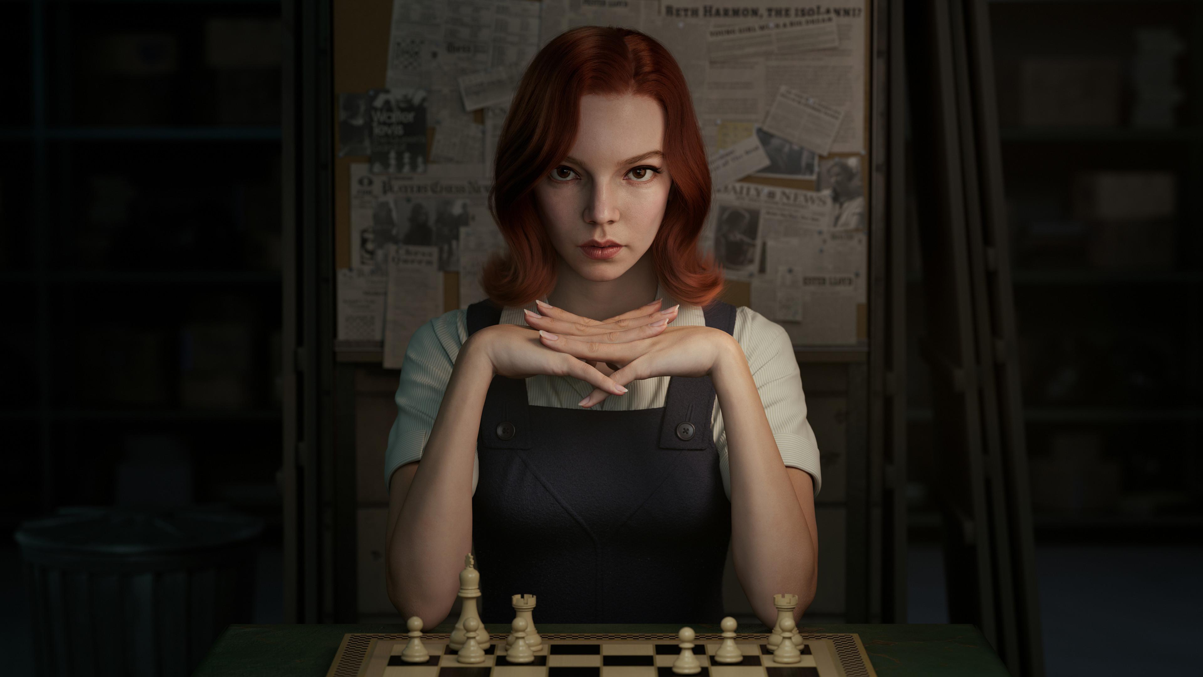 General 3839x2160 ArtStation redhead looking at viewer chess digital art digital painting Beth Harmon fan art artwork Anya Taylor-Joy  CGI 3D Xie Boli The Queen's Gambit