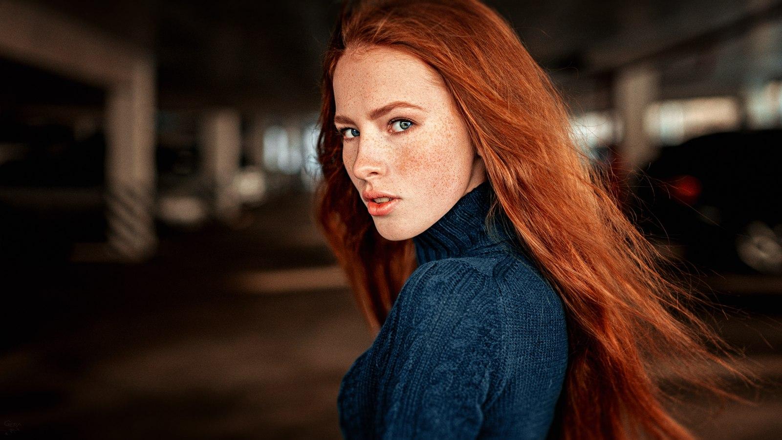 People 1600x900 redhead women model long hair looking at viewer parking garage face portrait Georgy Chernyadyev freckles