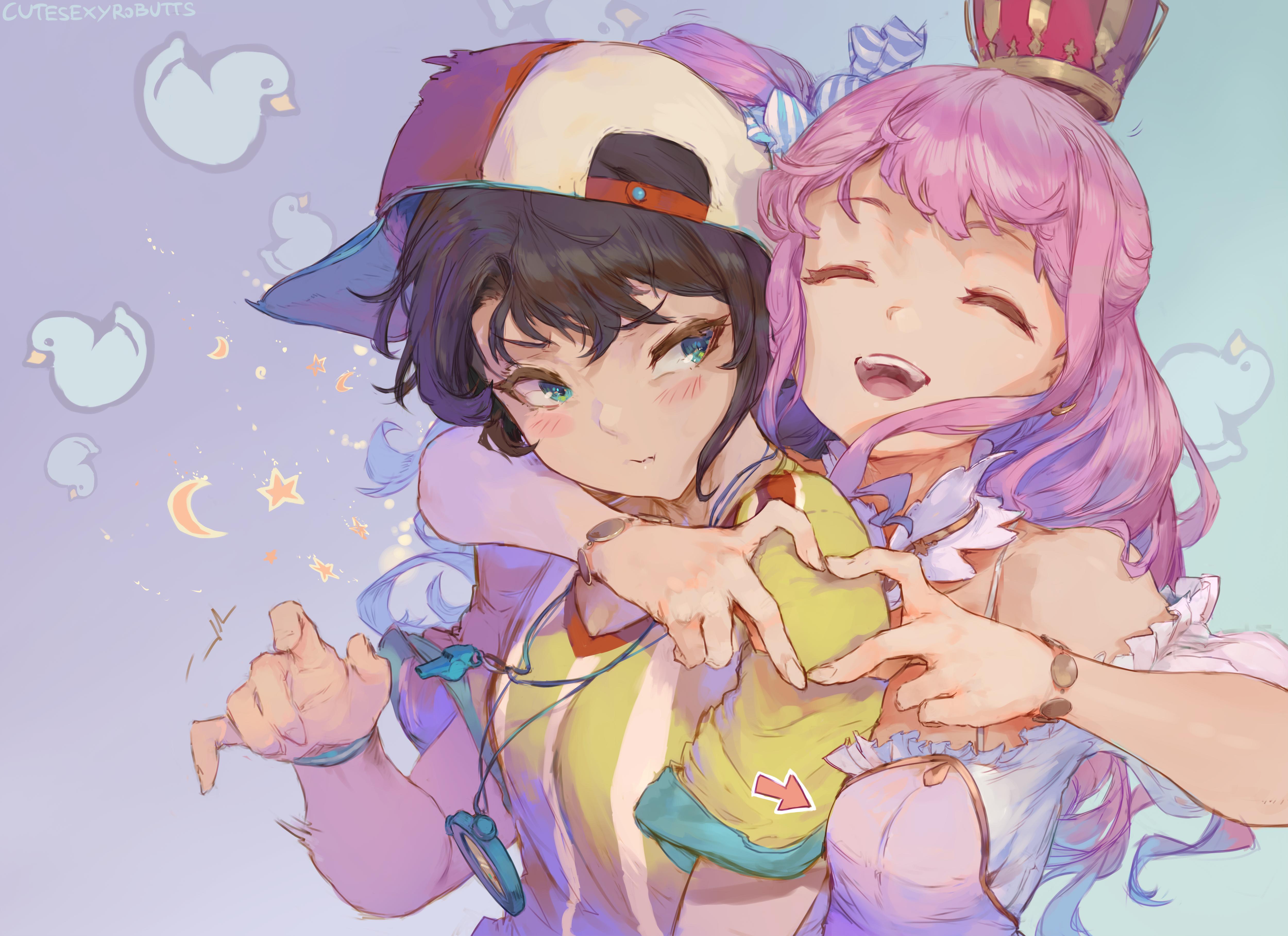 Anime 5000x3635 Oozora Subaru Himemori Luna Hololive Virtual Youtuber anime anime girls hugging blushing 2D artwork drawing illustration fan art Cutesexyrobutts