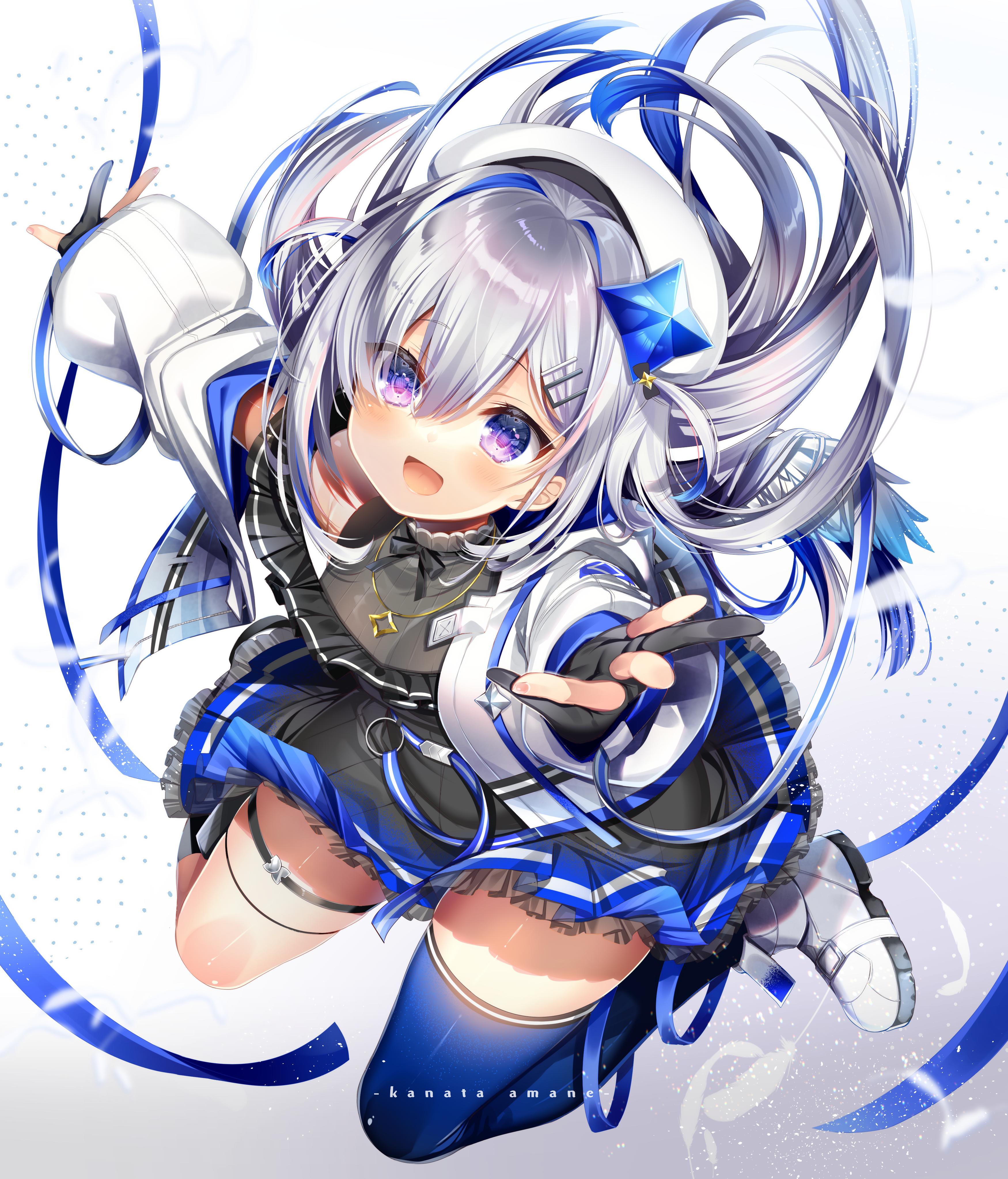 Anime 3500x4092 thigh-highs ribbon Hololive Virtual Youtuber Amane Kanata anime girls silver hair purple eyes