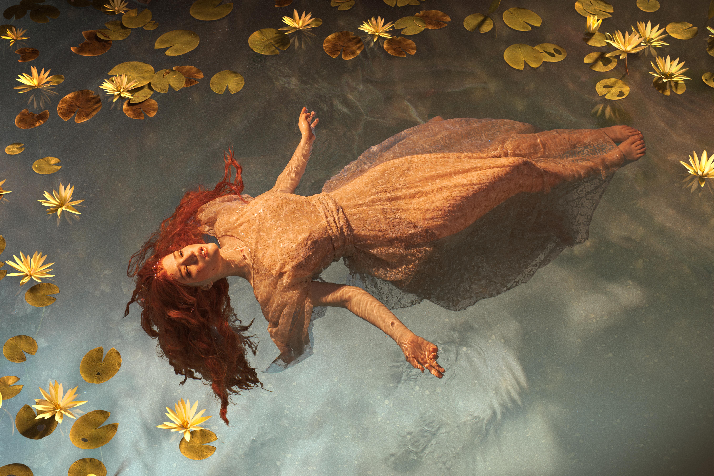 People 6000x4000 women model cosplay Lada Lyumos water wet long hair redhead dress Ophelia