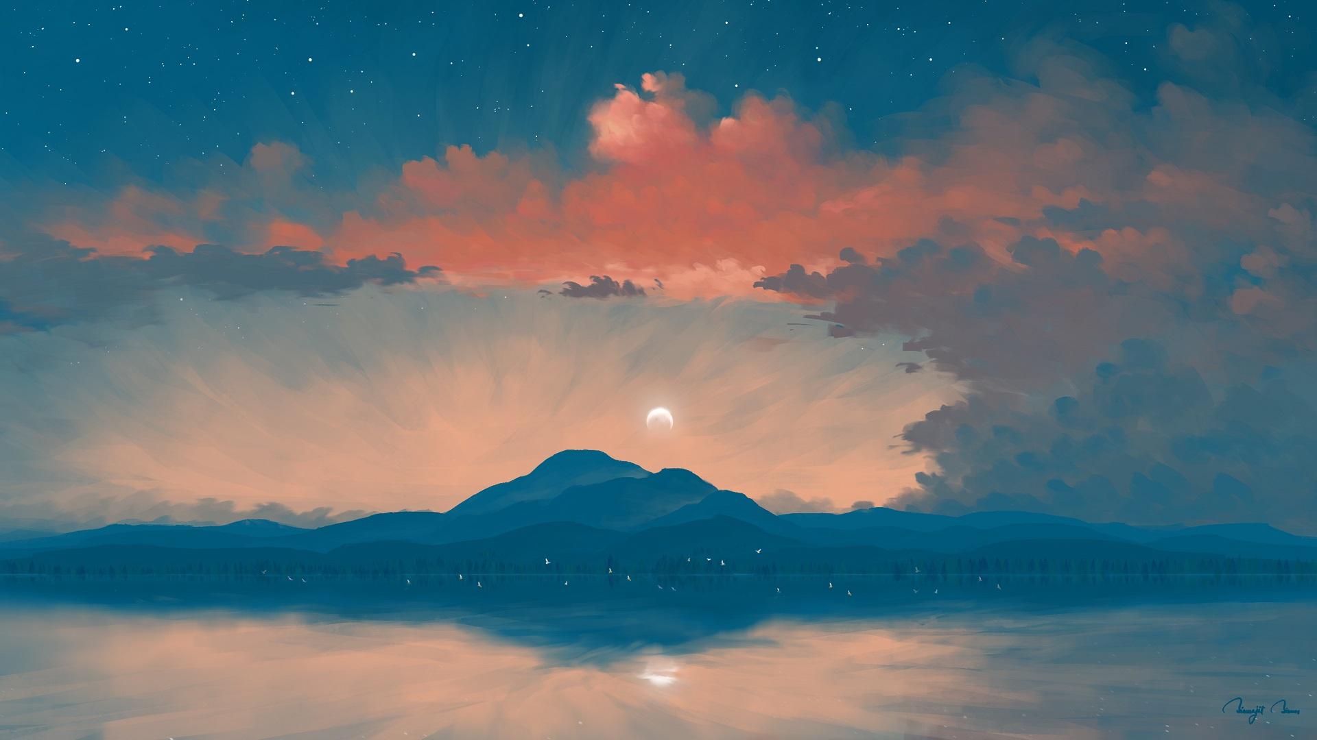 General 1920x1080 digital painting landscape sunrise lake mountains sky clouds BisBiswas