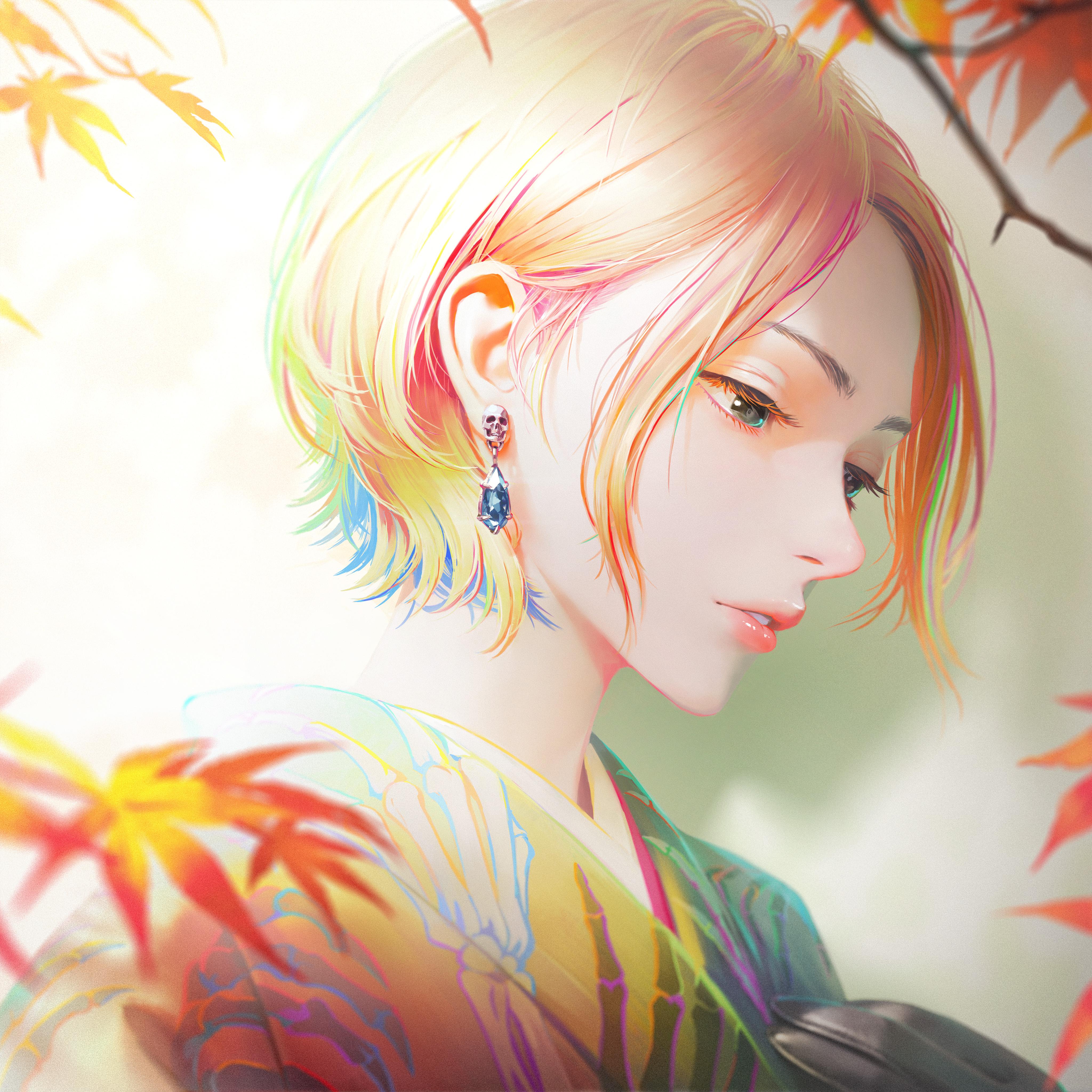 General 4096x4096 digital art artwork 2D NaBaBa (DeviantArt) Arata Yokoyama fall women face short hair