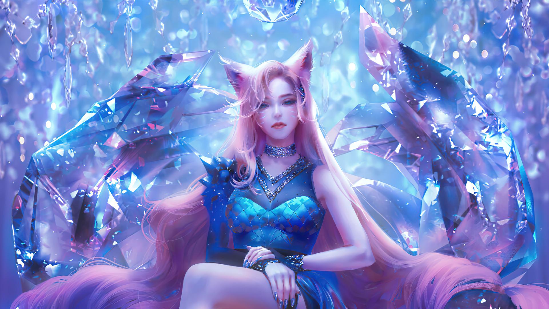General 1920x1080 League of Legends Ahri Ahri (League of Legends) fox ears crystal  frontal view anime girls cat ears cat girl women