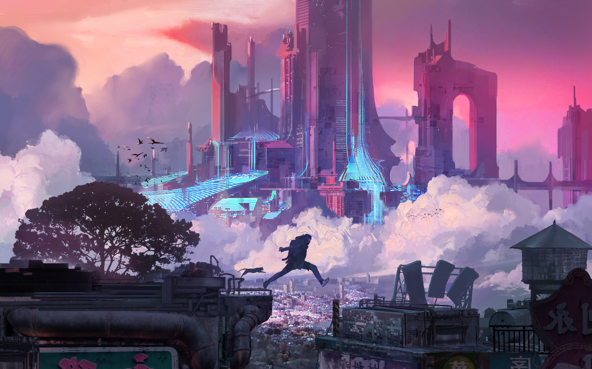 General 1920x1197 Fu Chenqi cyber cyberpunk futuristic futuristic city jumping parkour science fiction artwork cityscape