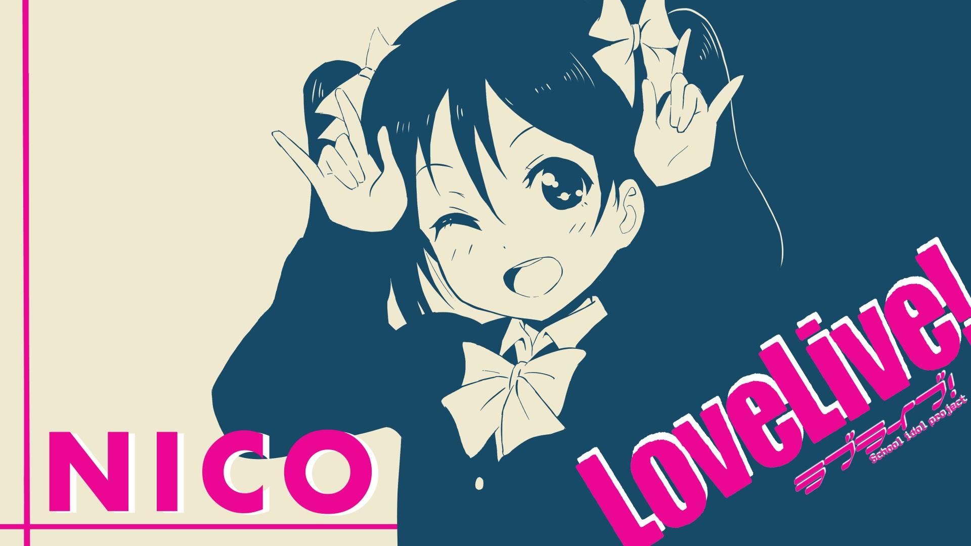 Anime 1920x1080 Yazawa Nico Love Live! anime anime girls typography open mouth
