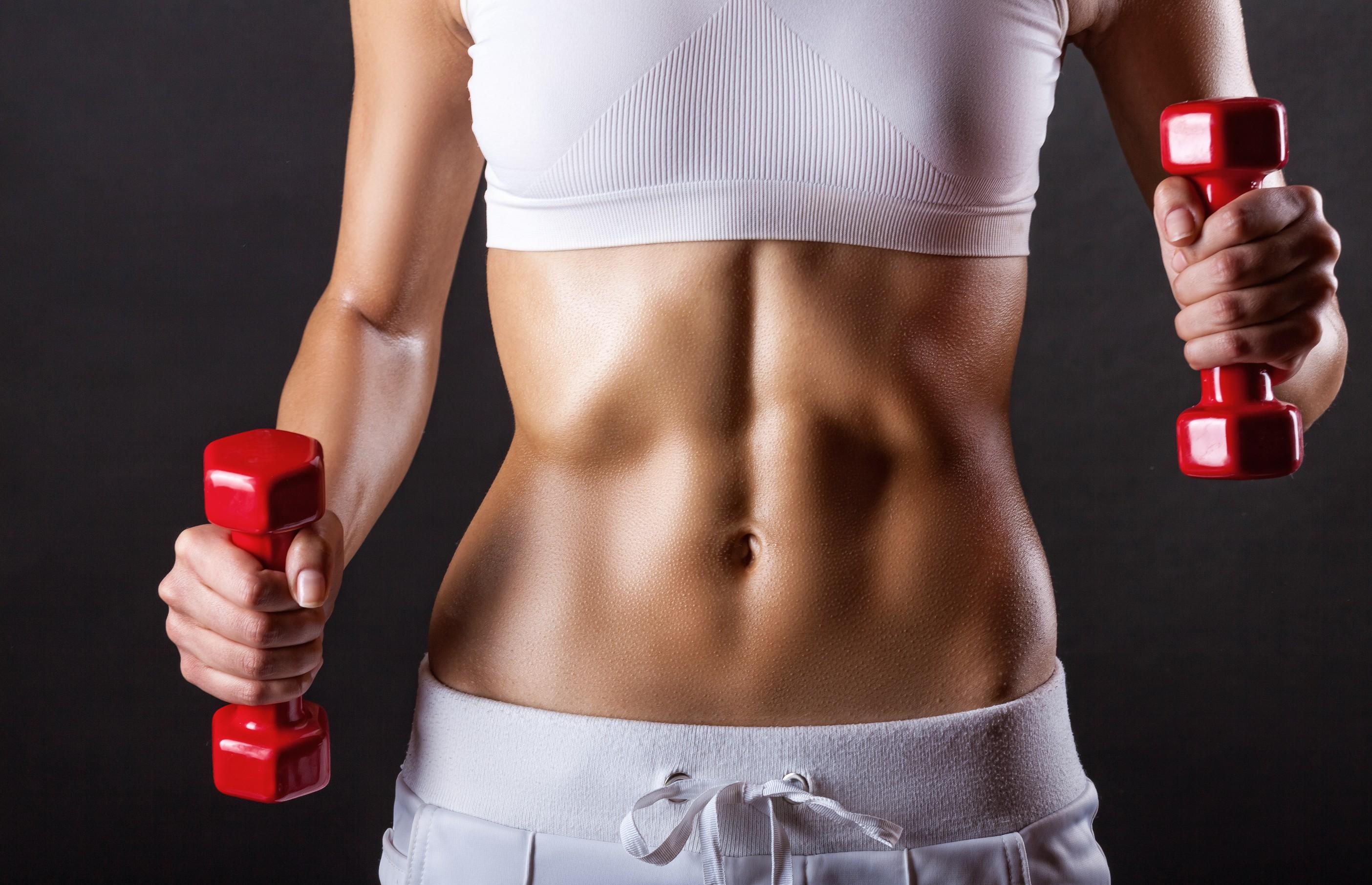 People 2808x1812 women fitness model sport  model dumbbells abs sports bra weightlifting