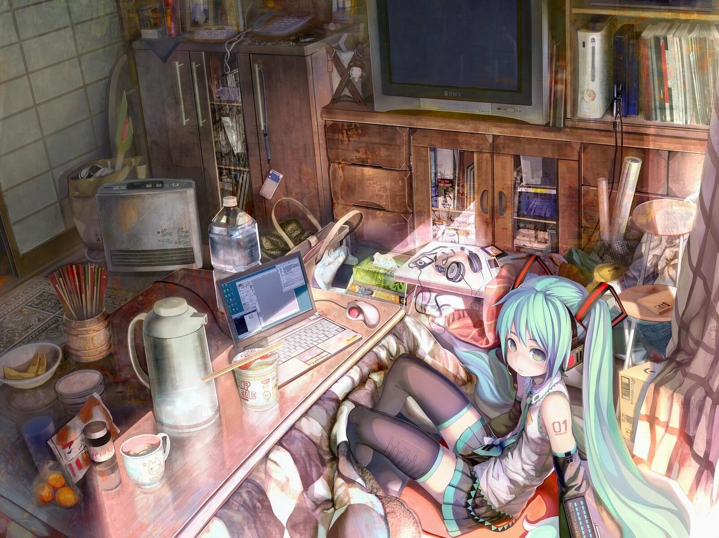 Anime 1400x1047 anime room bedroom calm anime girls interior long hair looking at viewer sitting aqua hair Windows XP notebooks computer mice Vocaloid Hatsune Miku
