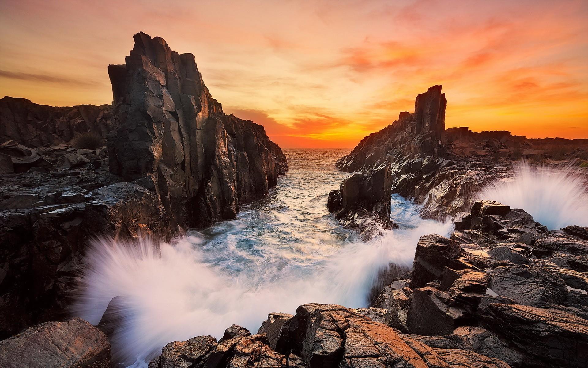General 1920x1200 landscape Australia New South Wales orange sky sea rock formation