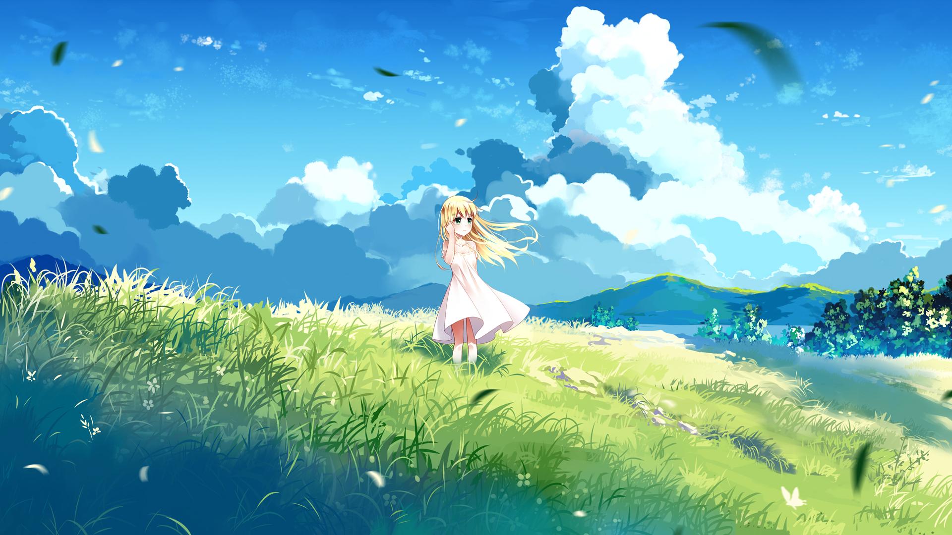 Anime 1920x1080 blonde clouds anime girls field nature sky dress anime cyan