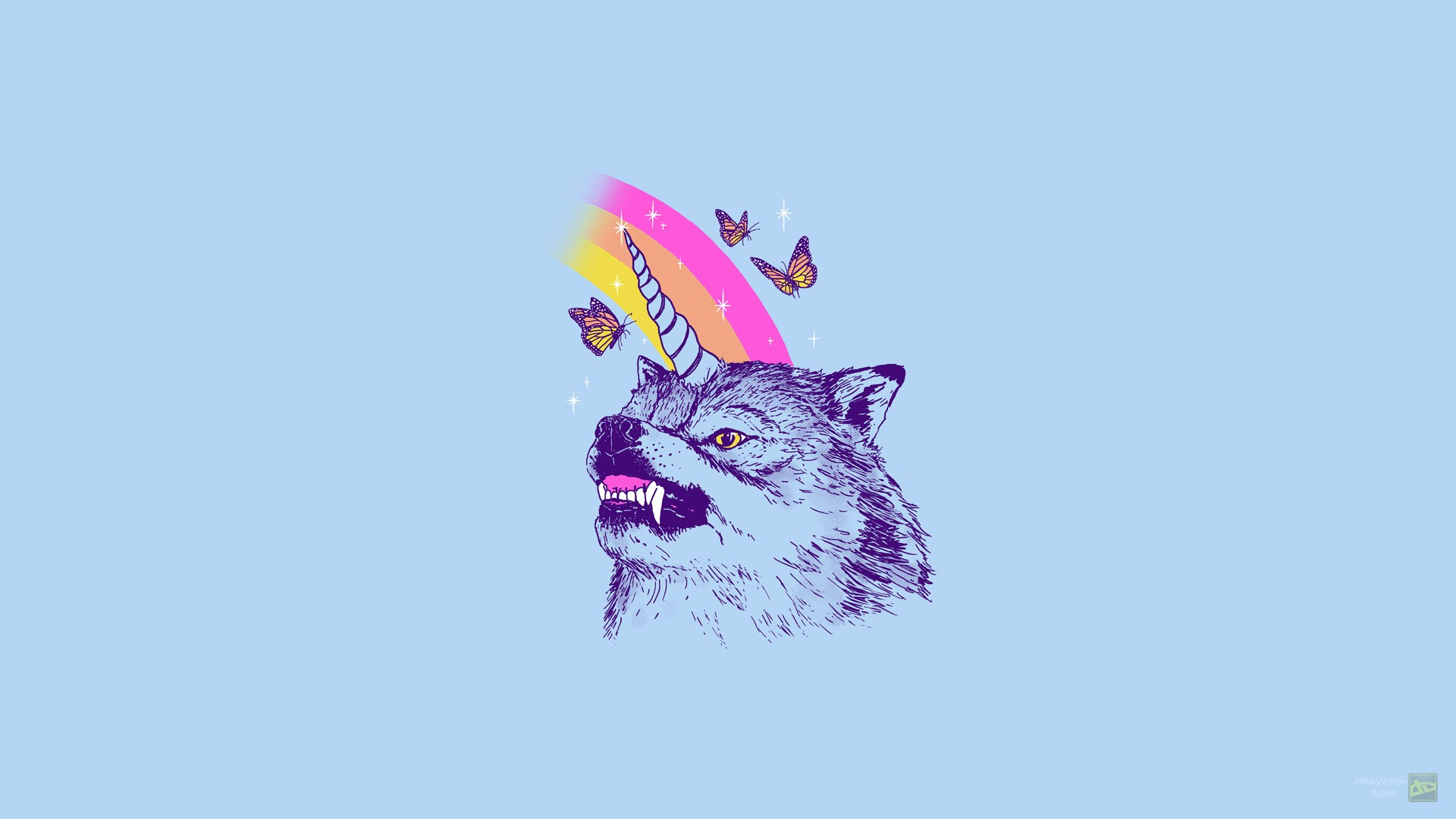 General 1920x1080 wolf unicorn LSD drugs simple butterfly animals