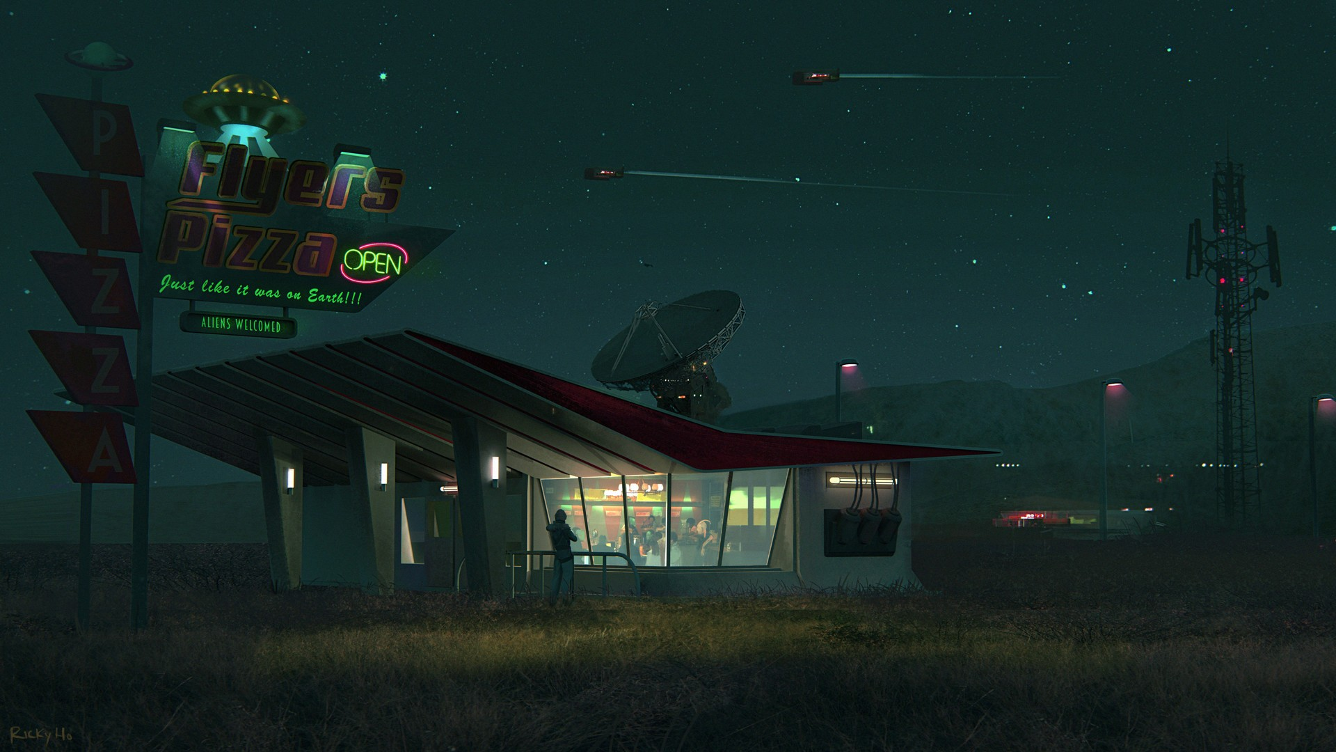 General 1920x1080 digital art science fiction pizza spaceship satellite night house stars neon text
